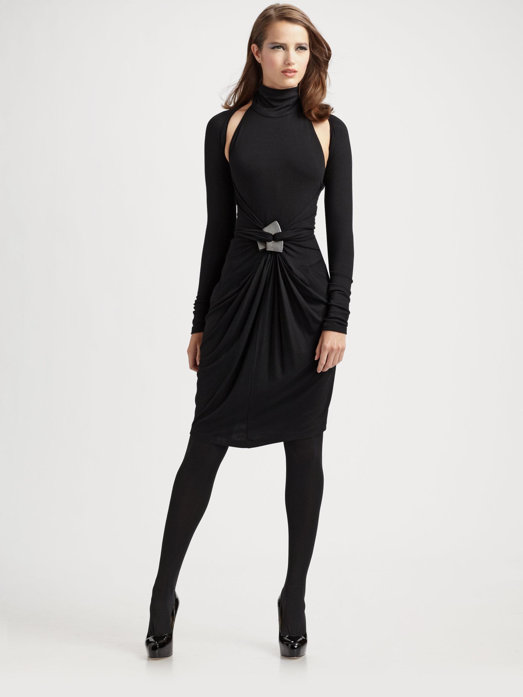 Donna Karan Cold Shoulder Wrap Dress In Black Lyst