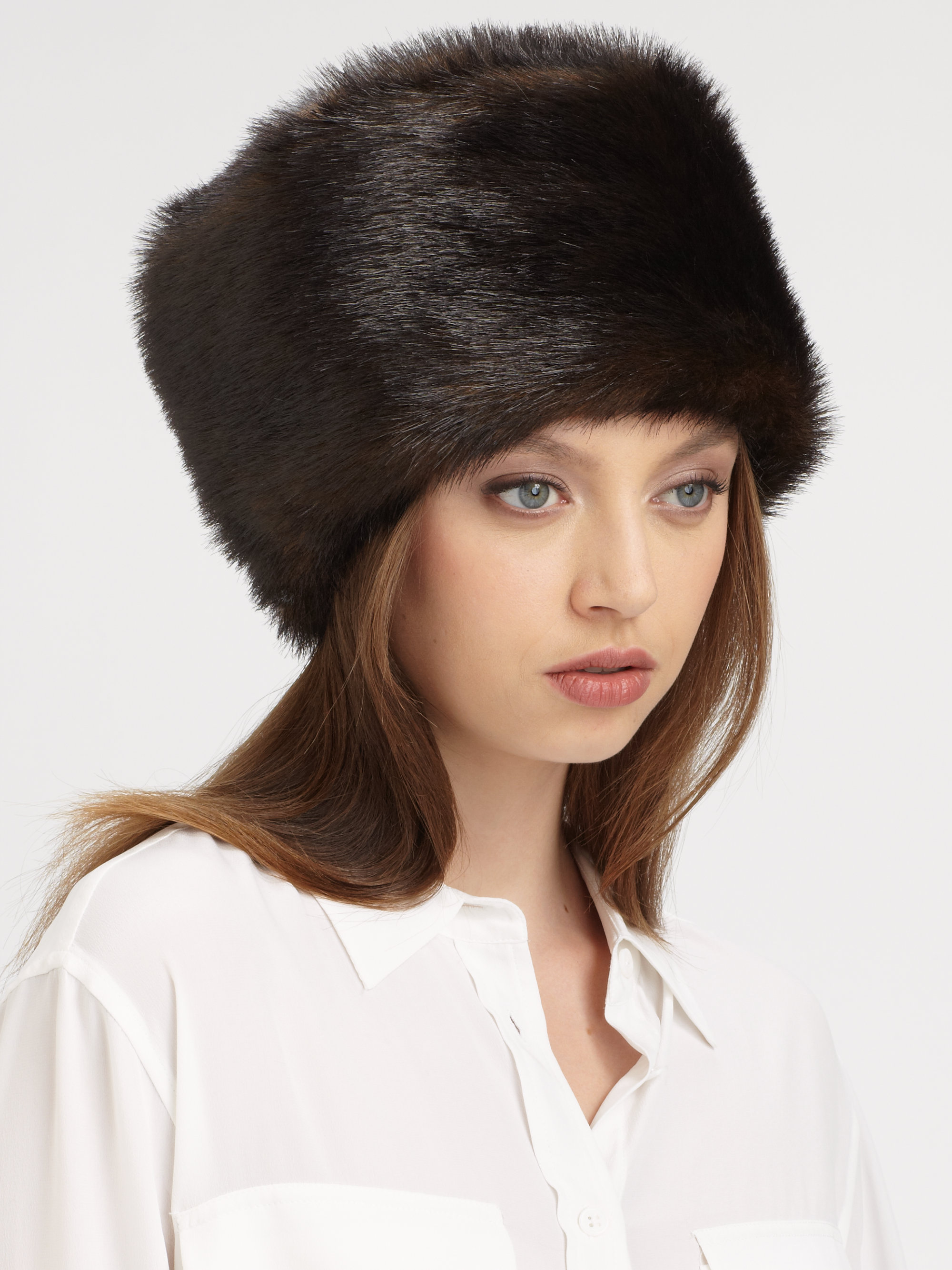 Lyst - Saks Fifth Avenue Russian Sable Faux Fur Hat in Black ef564090137
