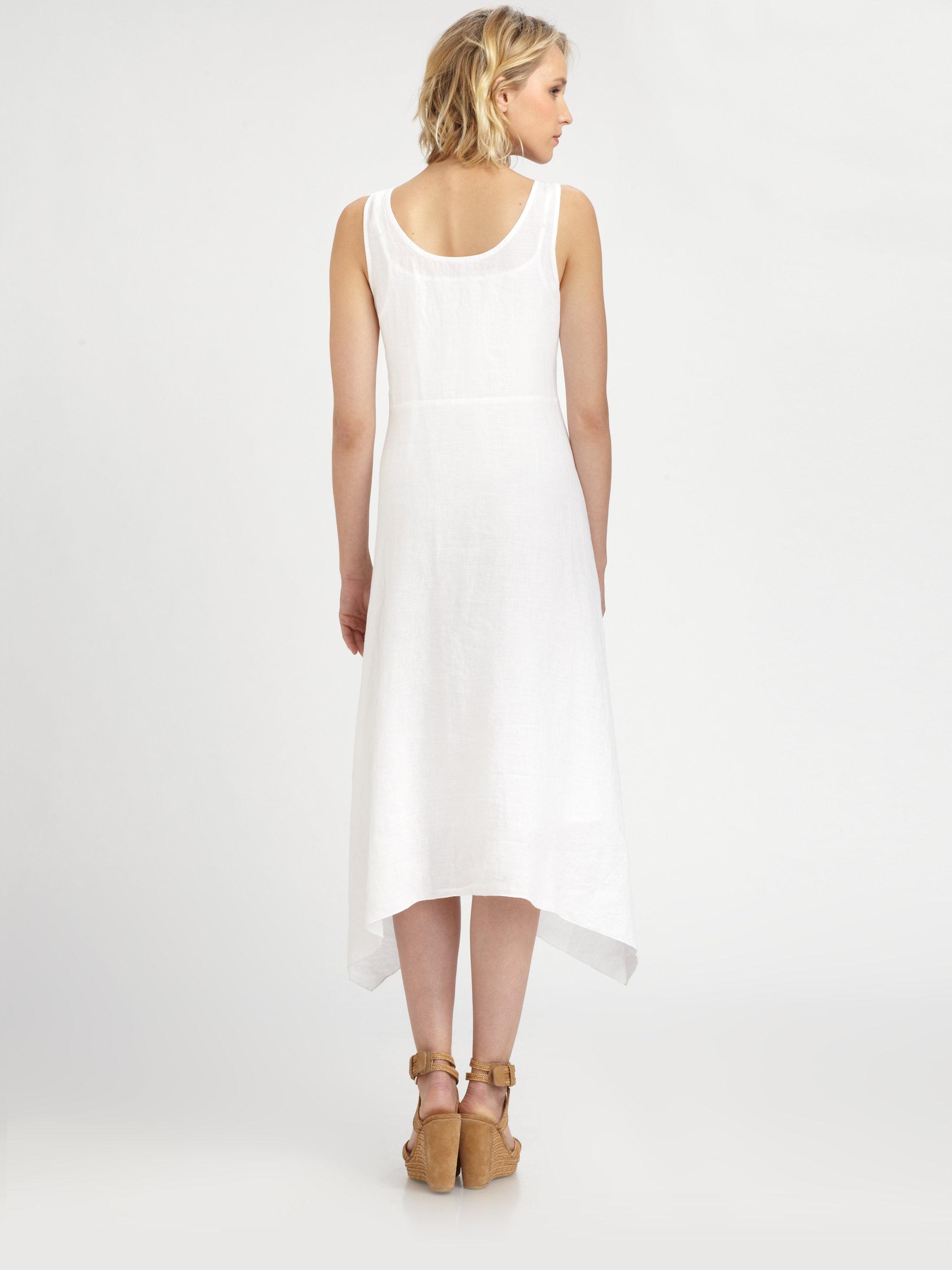 Lyst - Eileen Fisher Irish Linen Sleeveless Dress in White