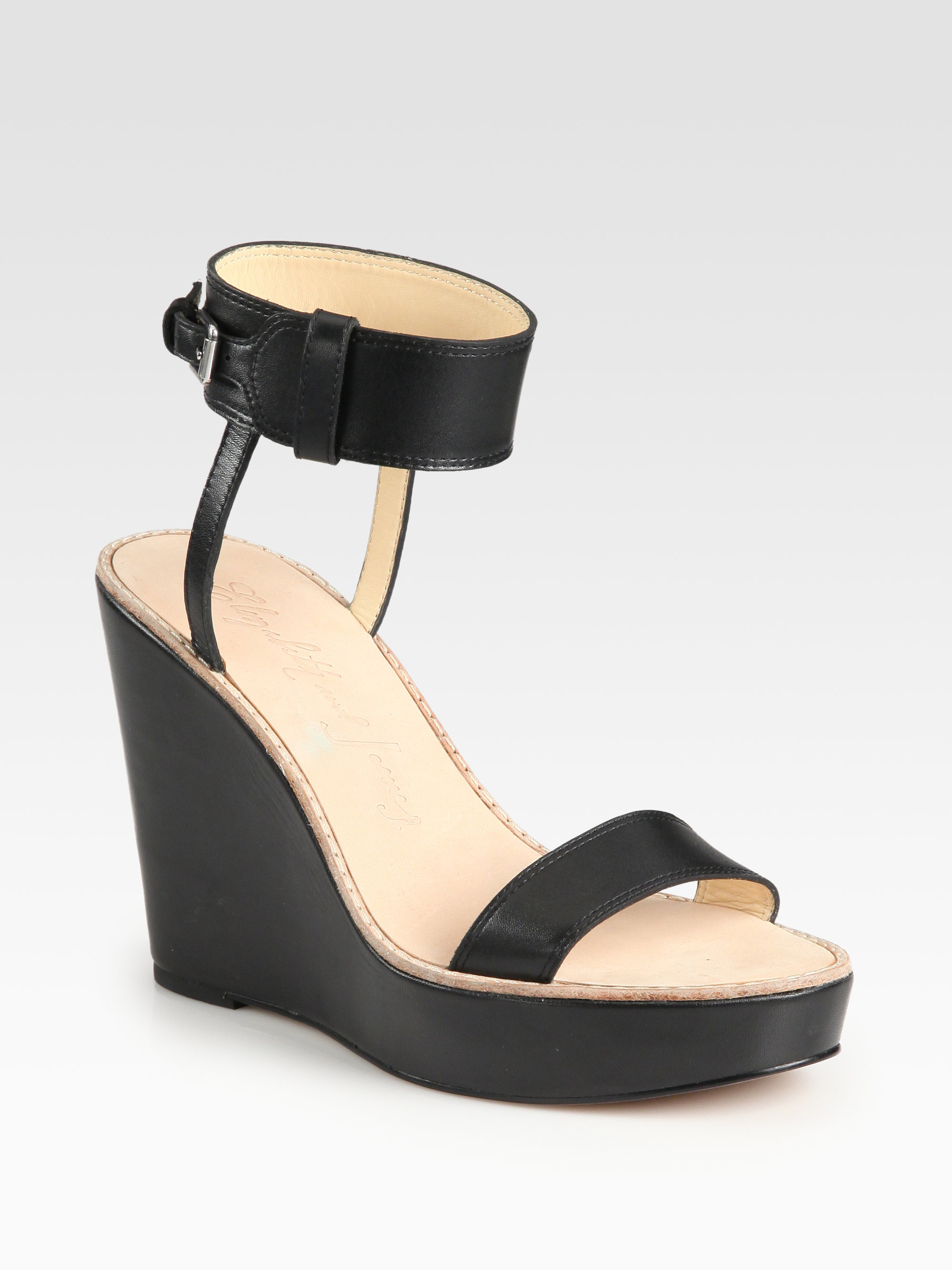Elizabeth And James Brit Leather Ankle Strap Wedge Sandals ...