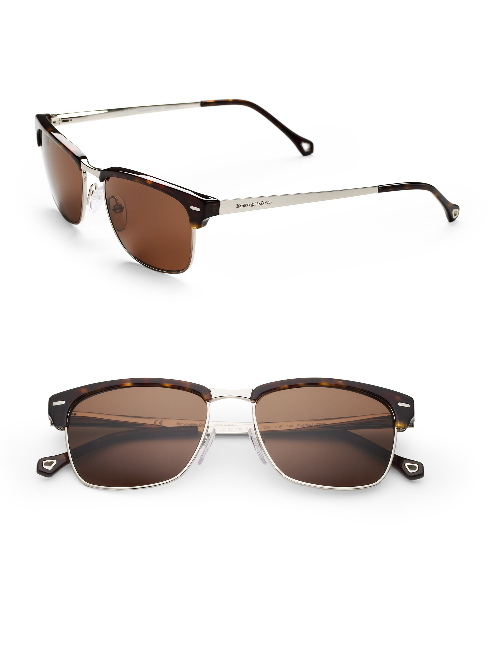 clubmaster brown  Ermenegildo zegna Clubmaster Square Wayfarer Sunglasses in Brown ...