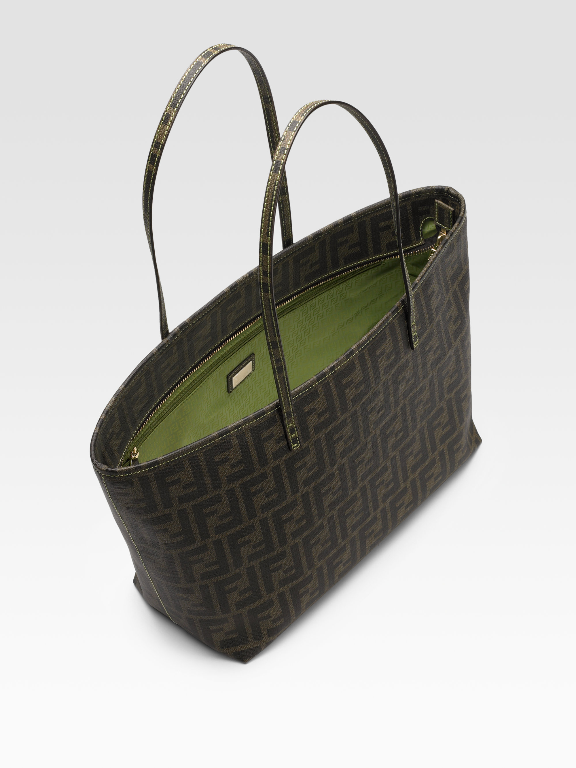 3c865cc9452 ... germany lyst fendi small zucca shopping roll tote in green 253a3 a6a6f