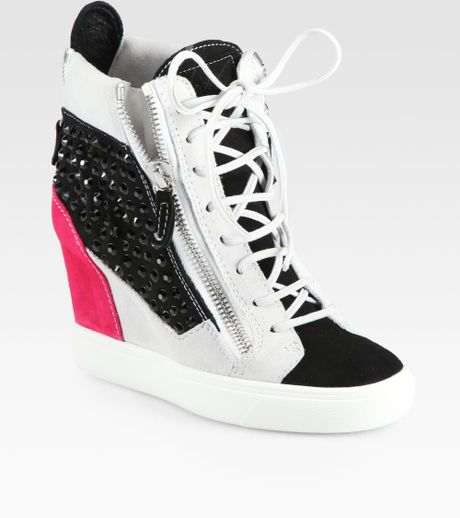 Giuseppe Zanotti Crystalcoated Suede Wedge Sneakers in ...