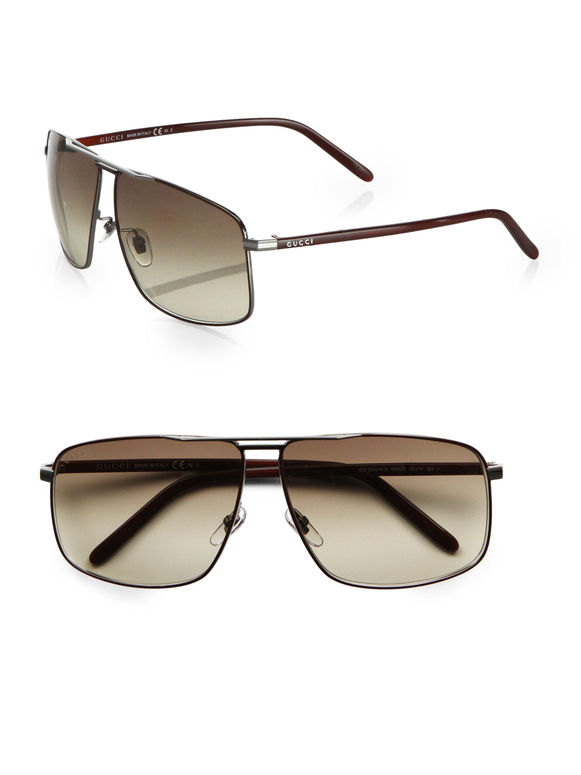 Gucci Metal Navigator Sunglasses In Brown For Men Lyst