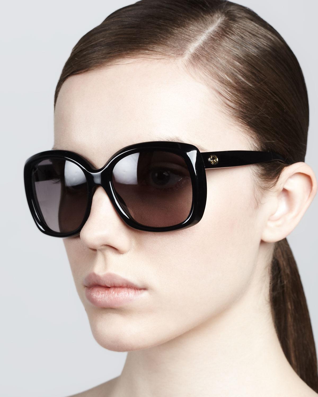 Gucci Square Sunglasses  gucci plastic square sunglasses in black lyst