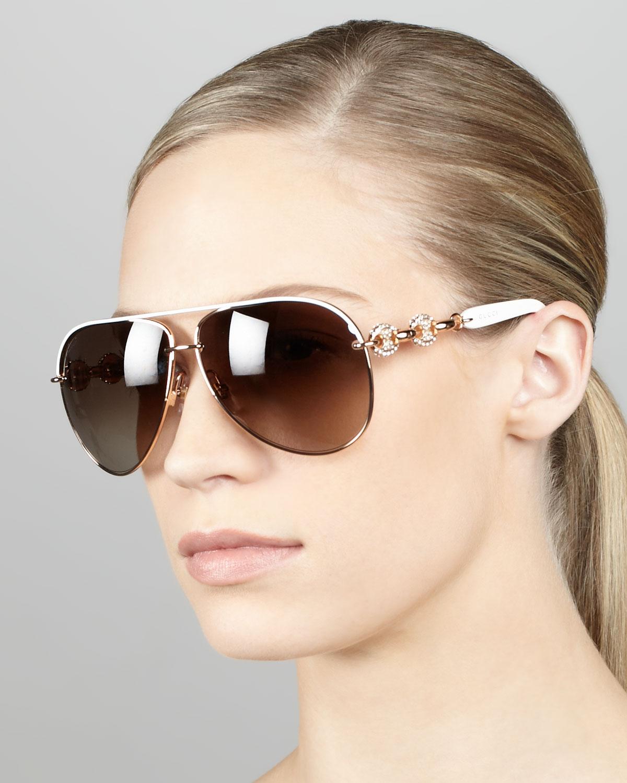 5ef8c988ea7 Lyst - Gucci Crystal Temple Aviator Sunglasses White in White