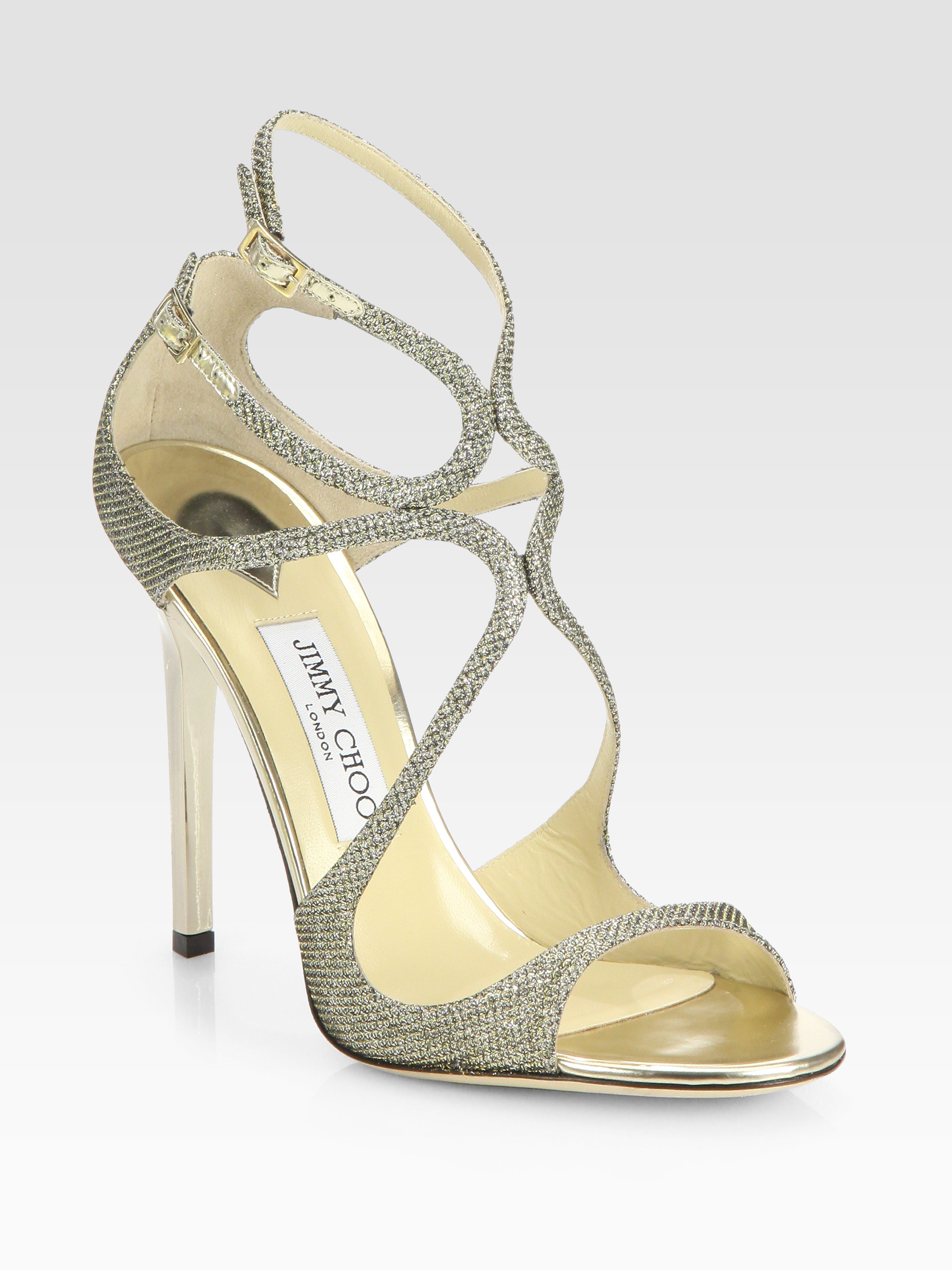 8c87ae47df3 Lyst - Jimmy Choo Lance Lam233 Glitter Sandals in Metallic
