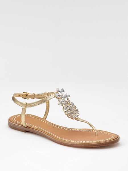Kate Spade Hula Pineapple Jeweled Thong In Silver Gold