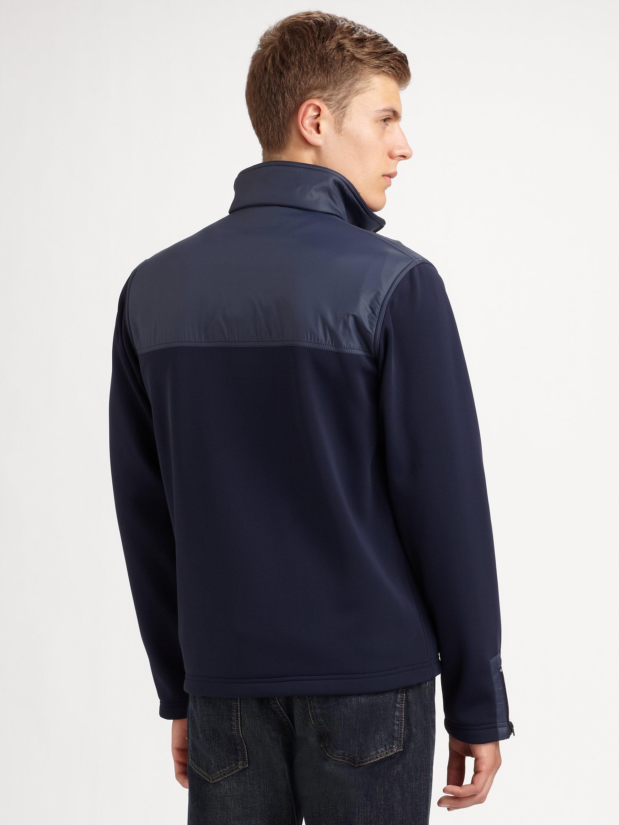Lacoste Fleece Jacket In Blue For Men Lyst