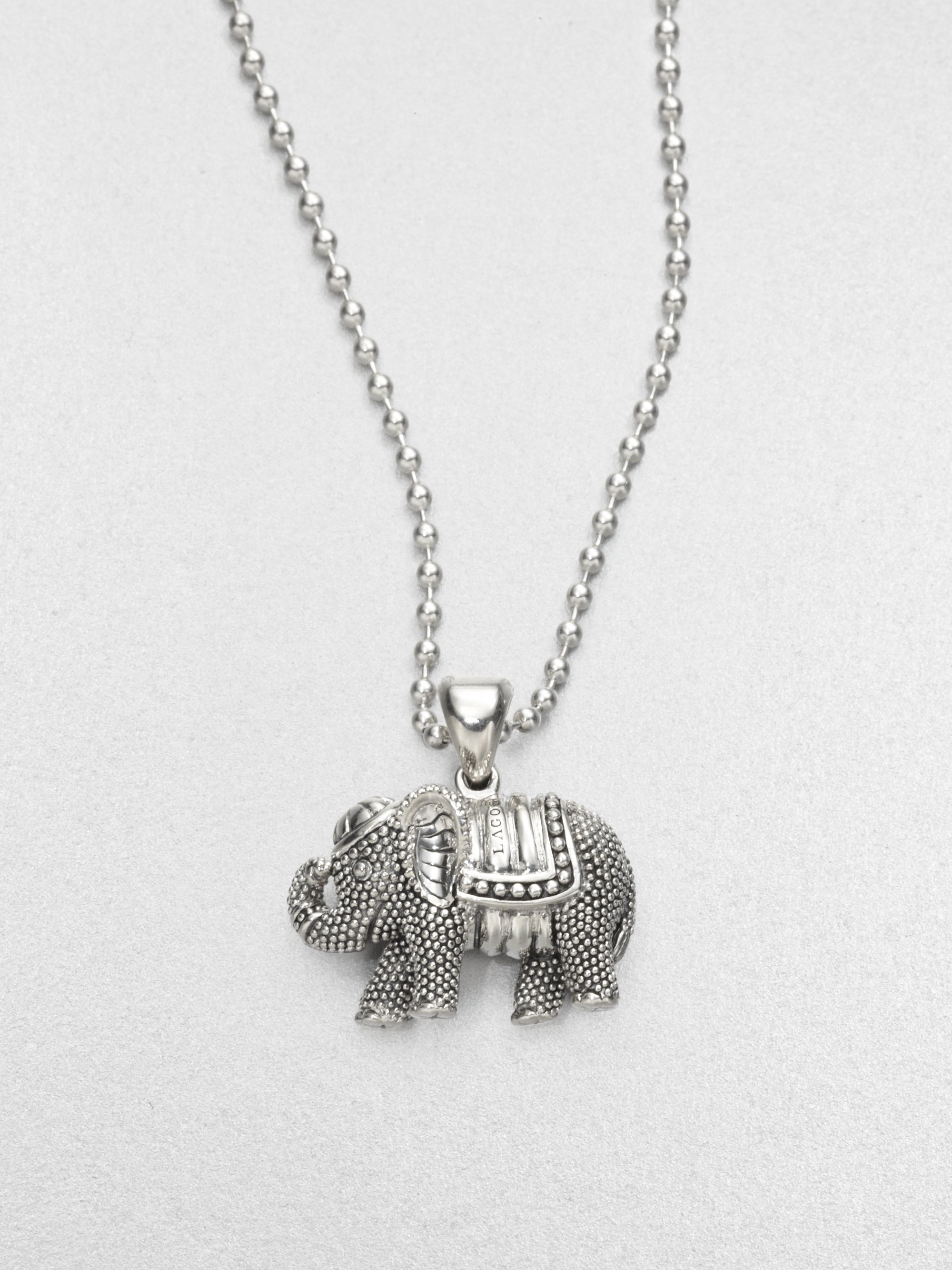 Lyst lagos sterling silver elephant pendant necklace in metallic gallery aloadofball Gallery