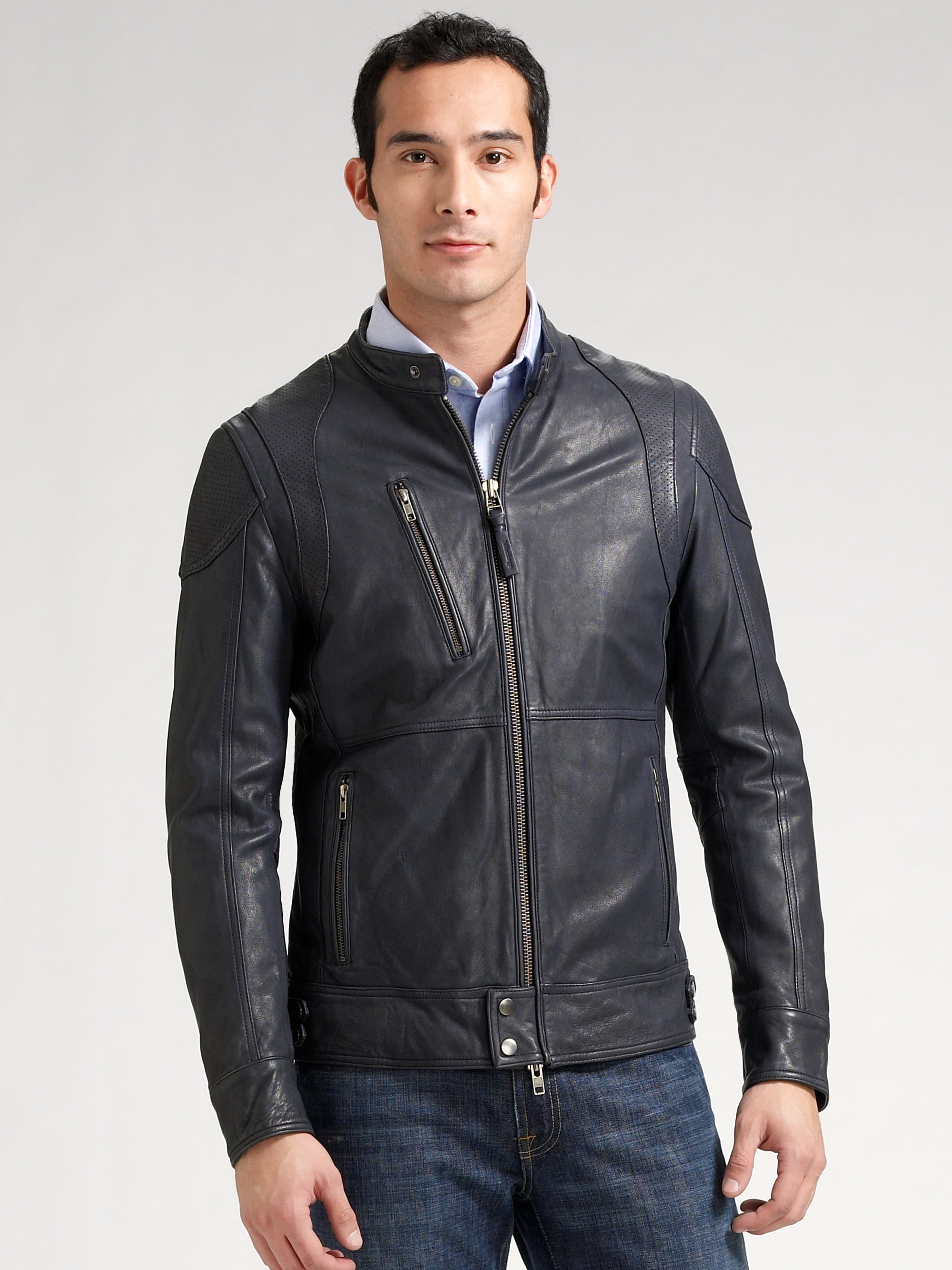 Mackage Perforated Leather Jacket in Black for Men | Lyst
