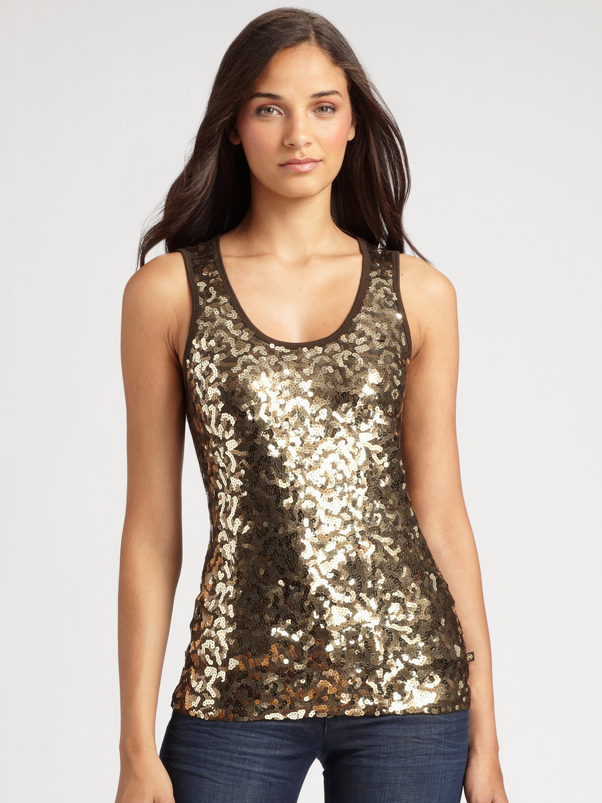 Michael Michael Kors Sequined Camouflage Tank Top in Gold ...