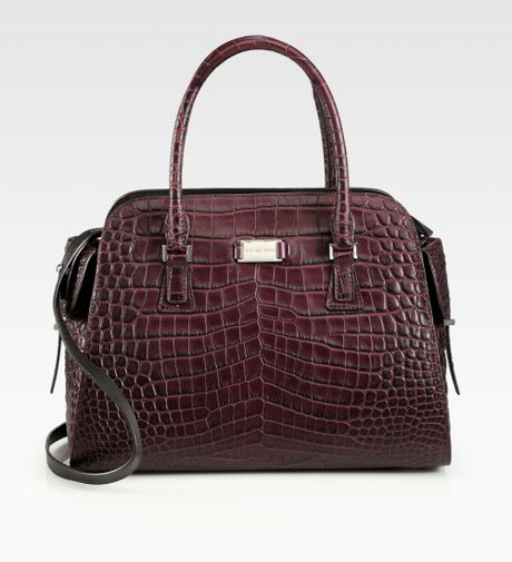 f4512c9ea1ab Michael Kors Gia Crocodile Embossed Leather Satchel in Red (blackberry) |  Lyst