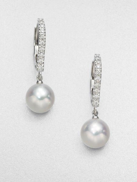 Mikimoto 75mm Round White Akoya Pearl Diamond Drop