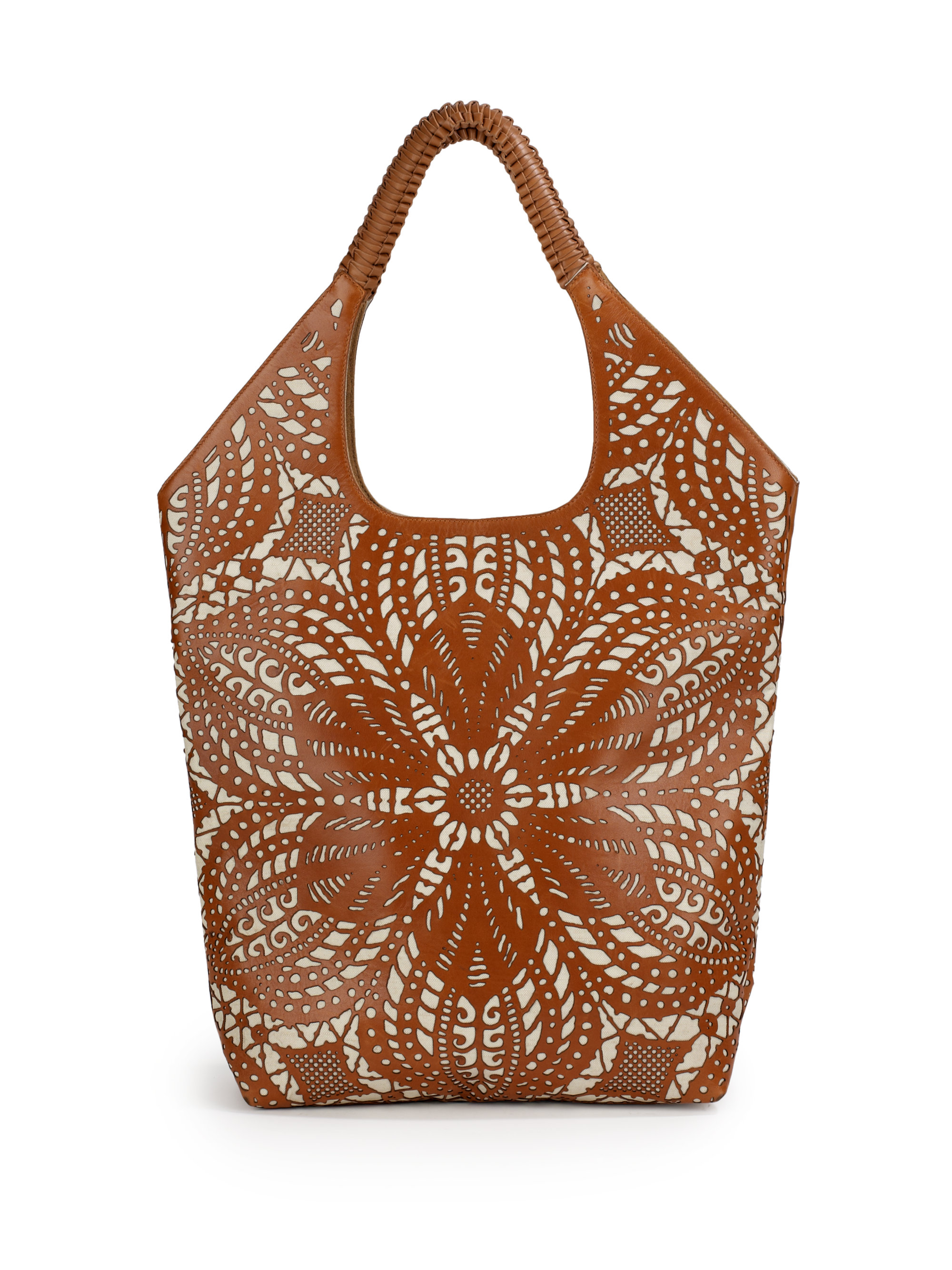 Lyst Nada Sawaya Mia Laser Cut Leather Shoulder Bag In Brown