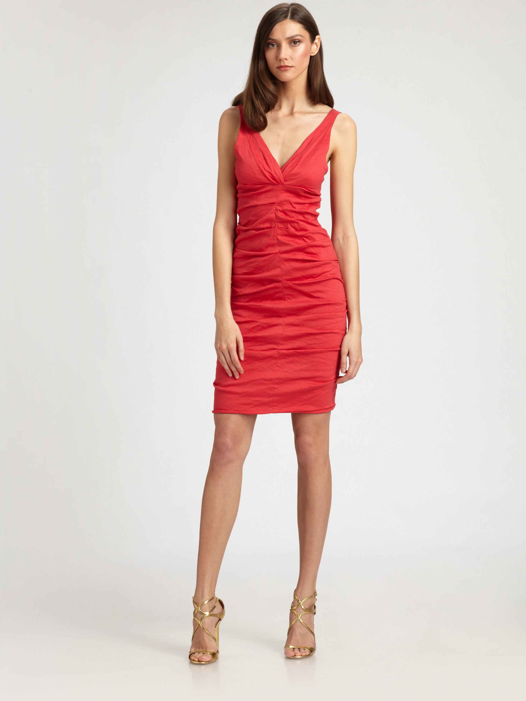 Nicole Miller Ruched Dress In Red Lyst