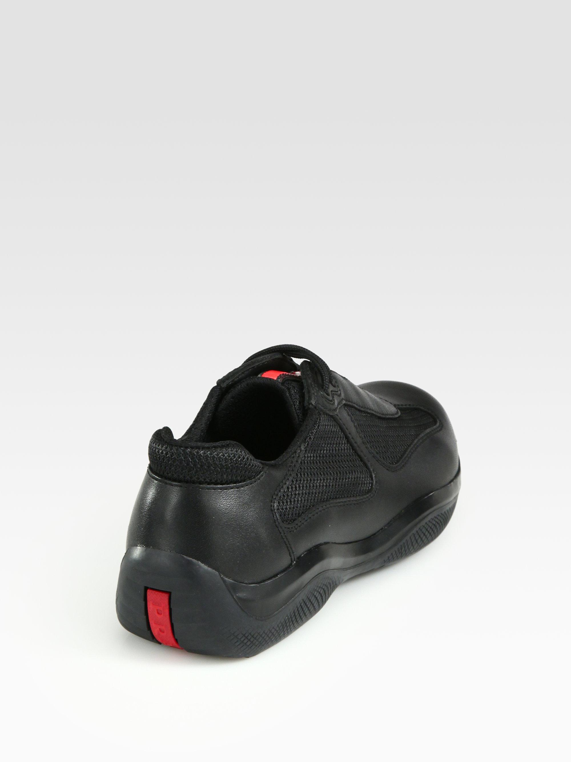 lyst prada americas cup sneaker in black