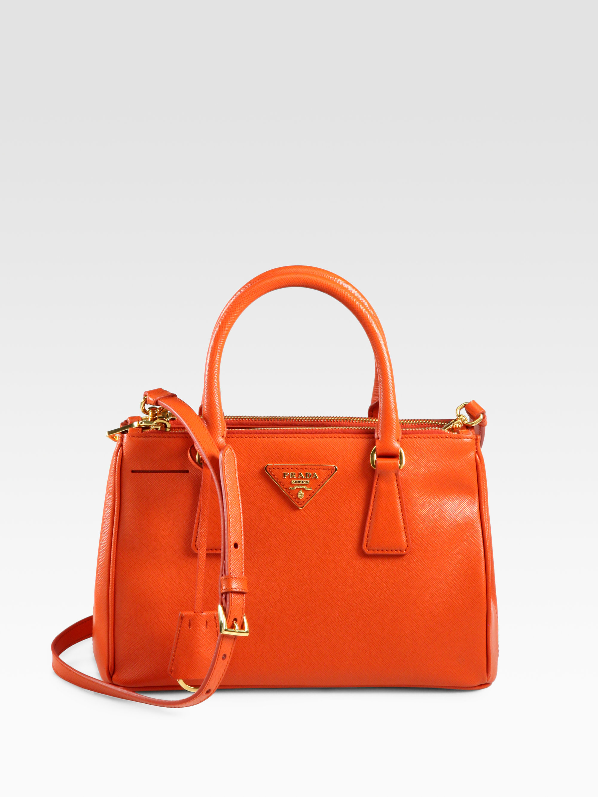 939d21b6537 Prada Saffiano Medium Double-zip Tote Bag in Orange - Lyst