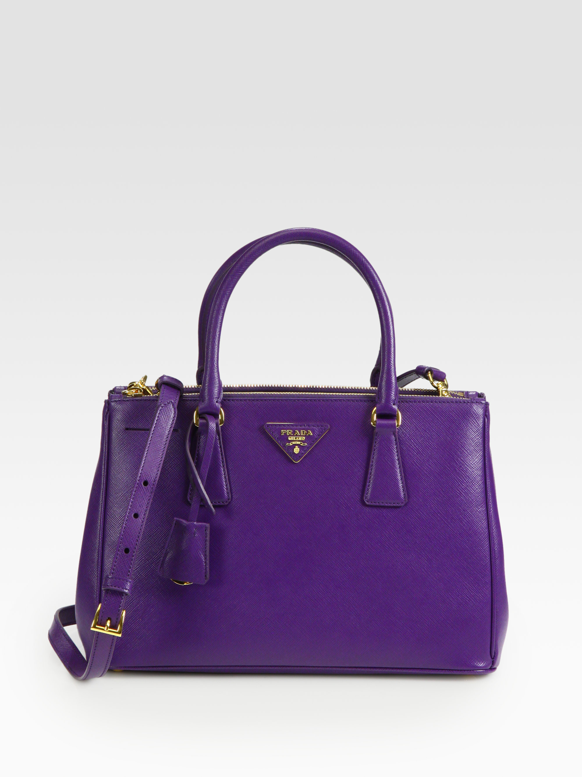 ec31454970 ... closeout lyst prada saffiano lux small tote in purple c0f05 49a09