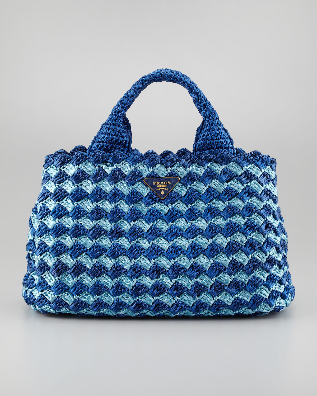 Lyst - Prada Bicolor Crocheted Raffia Medium Tote Bag in Blue 1a9f151e66