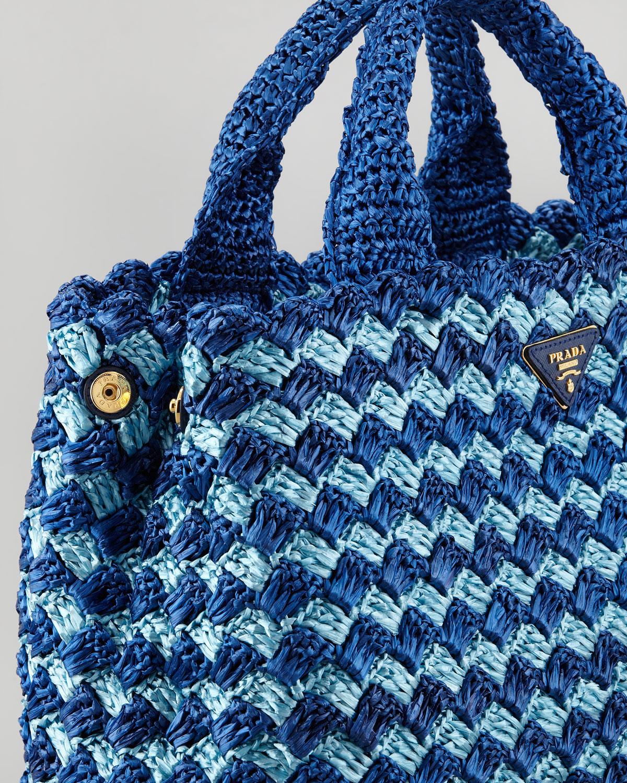 Prada Bicolor Crocheted Raffia Medium Tote Bag In Blue Lyst