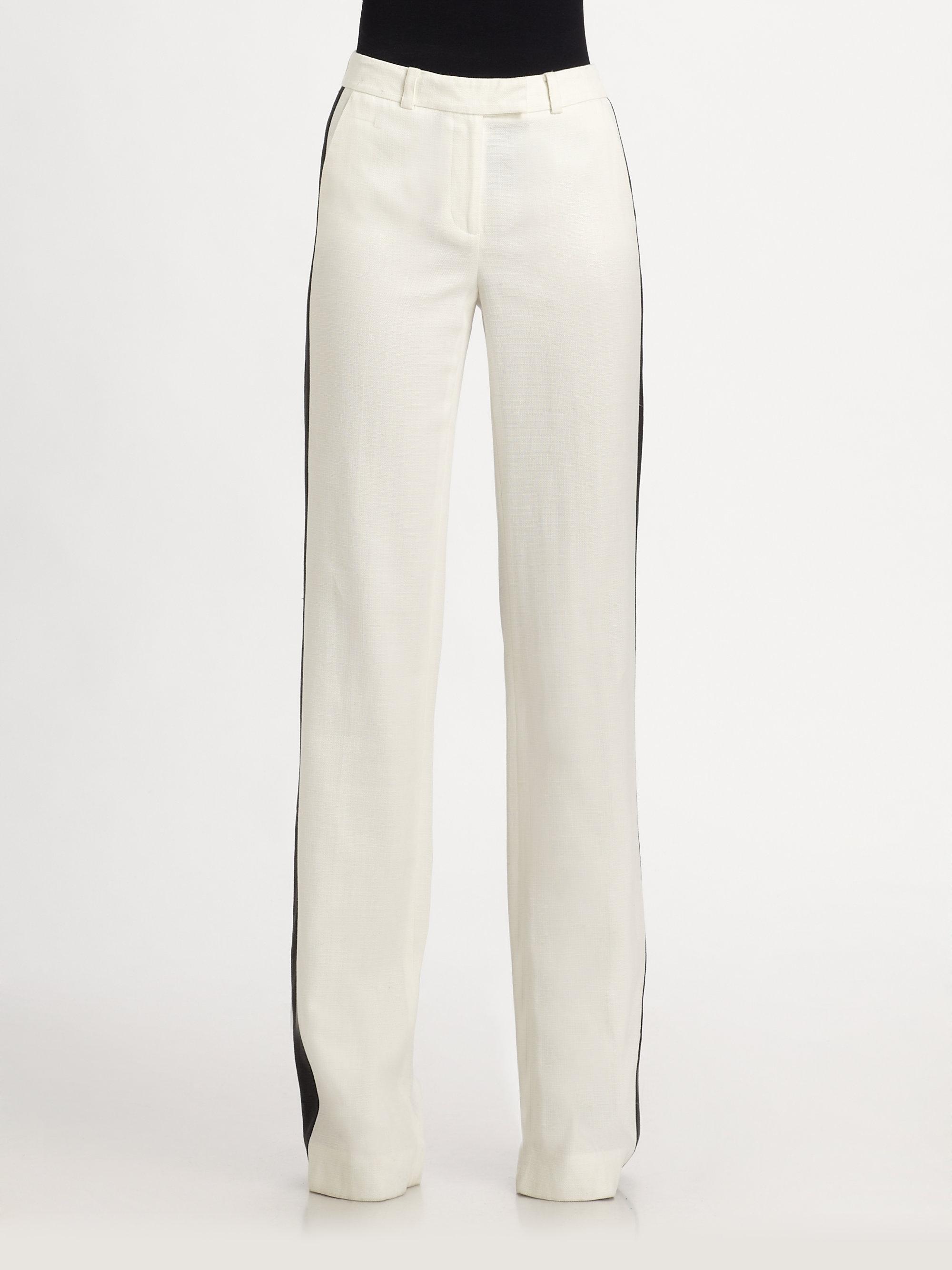 Rachel zoe Jett Wideleg Tuxedo Pants in White | Lyst