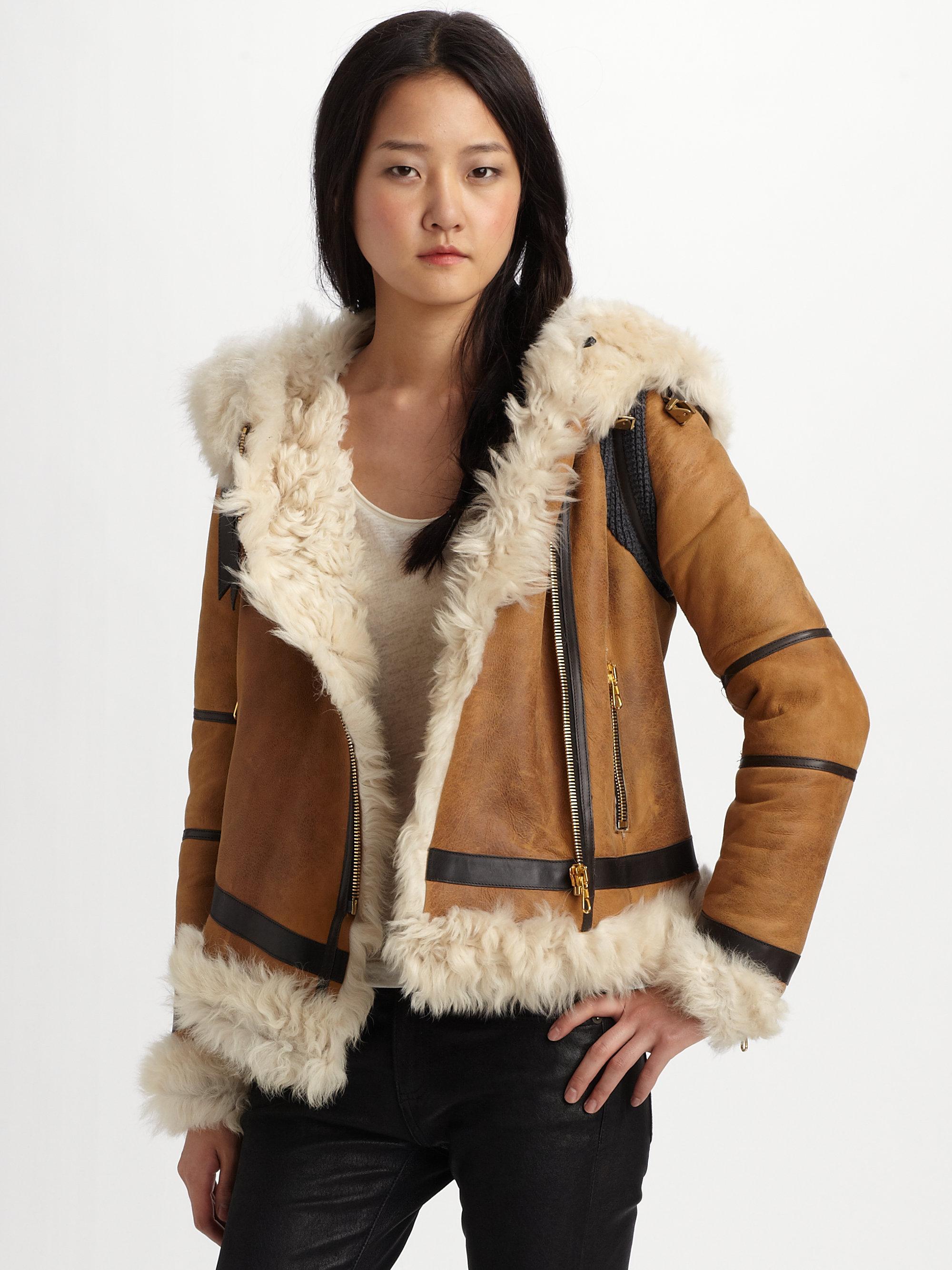 Rag & bone Shoreditch Shearling Jacket in Brown | Lyst