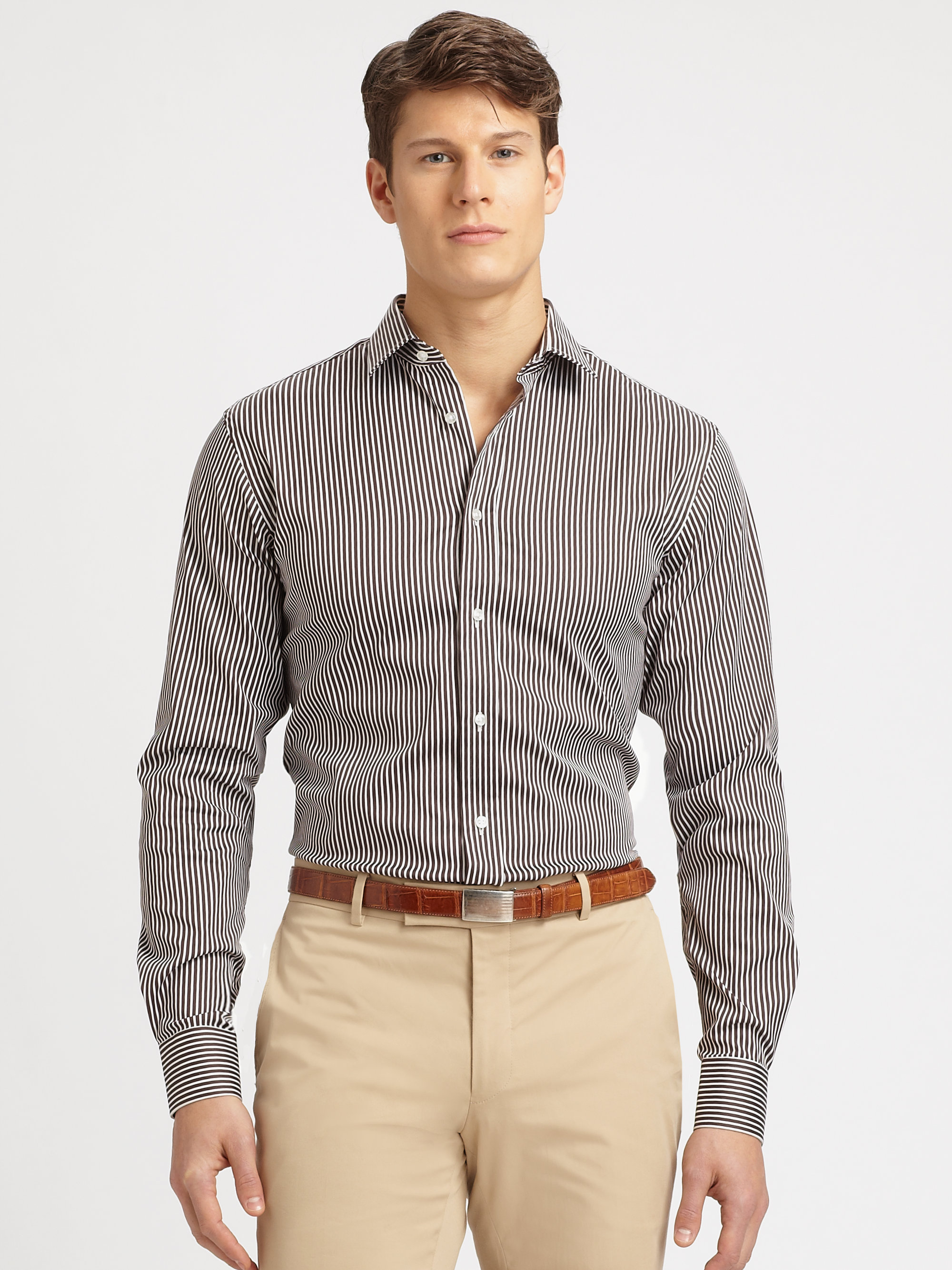 Ralph lauren black label striped dress shirt in brown for for Black brown mens shirts