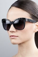 Roberto Cavalli Pebble-textured Cateye Sunglasses Black-golden - Lyst