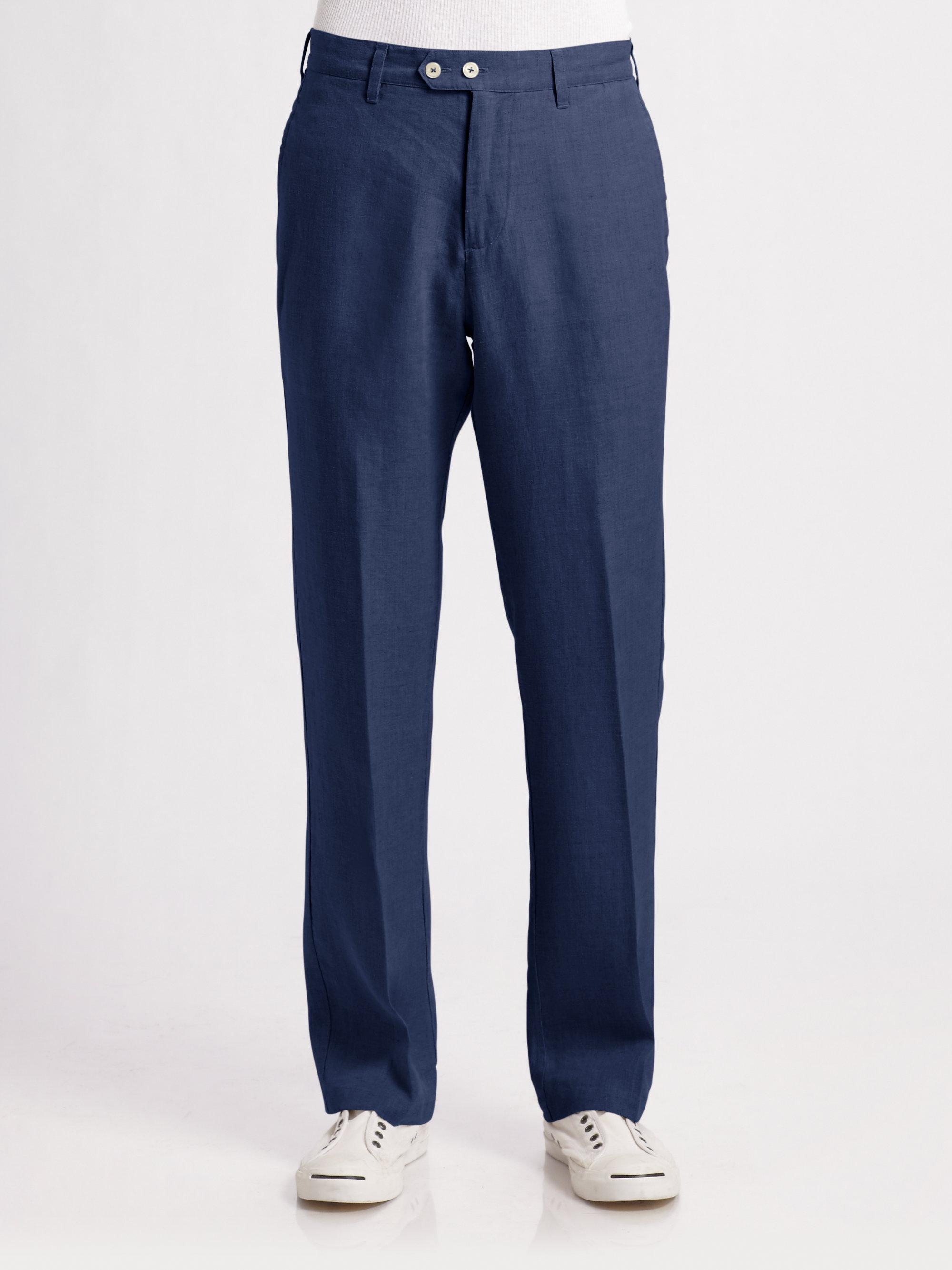 Saks Fifth Avenue Linen Pants In Blue For Men Lyst