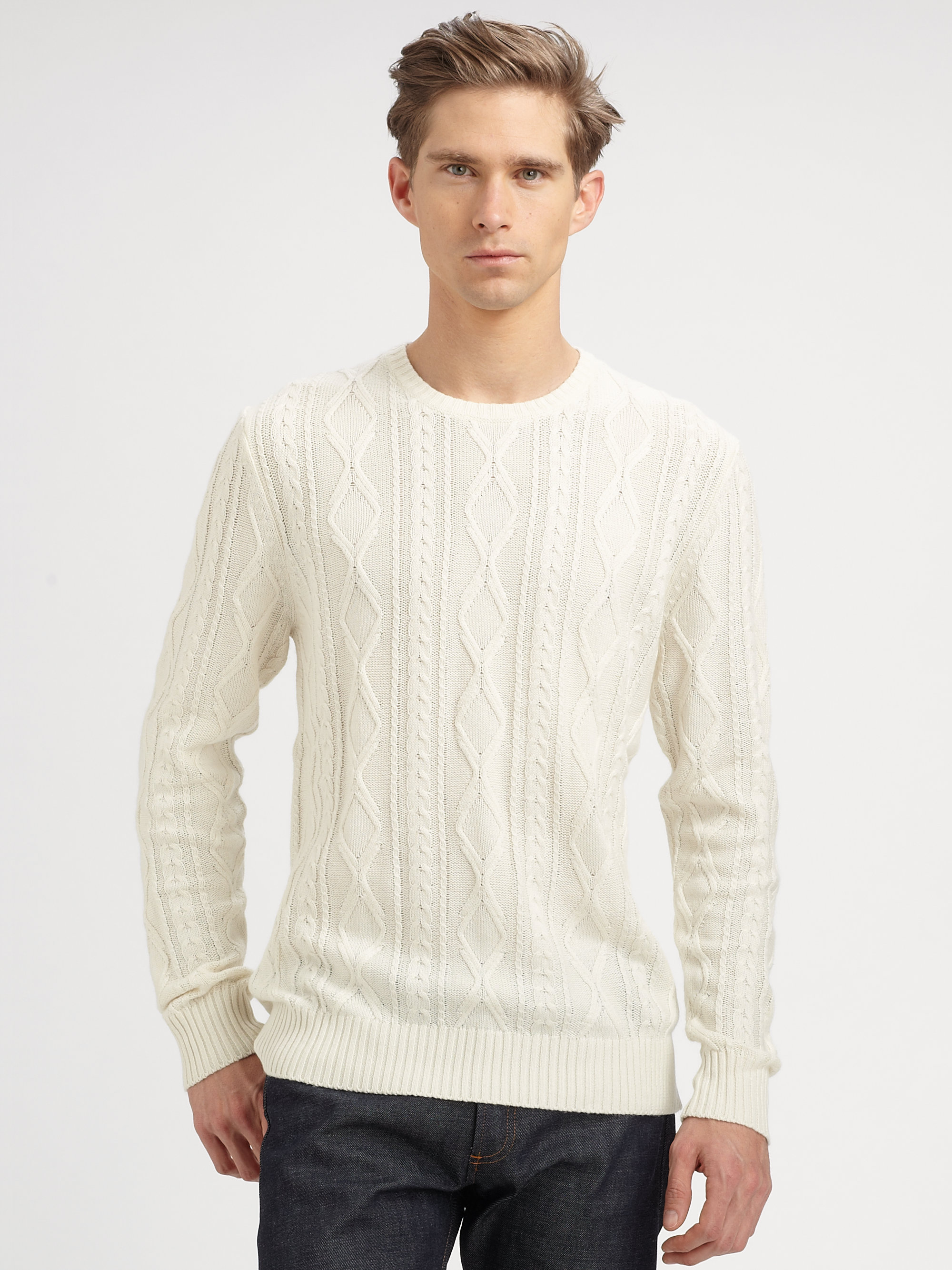 Saks fifth avenue Cashmere Silk Cableknit Sweater in White for Men ...
