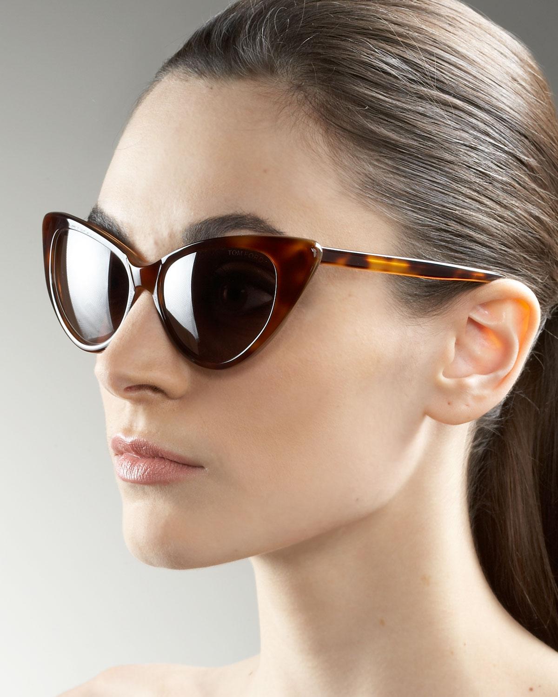 Tom Ford Nikita Cat Eye Sunglasses In Brown (SHINY BLACK