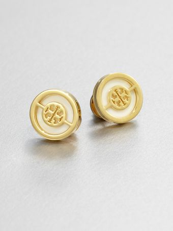 Tory Burch Enamel Logo Stud Earrings - Lyst