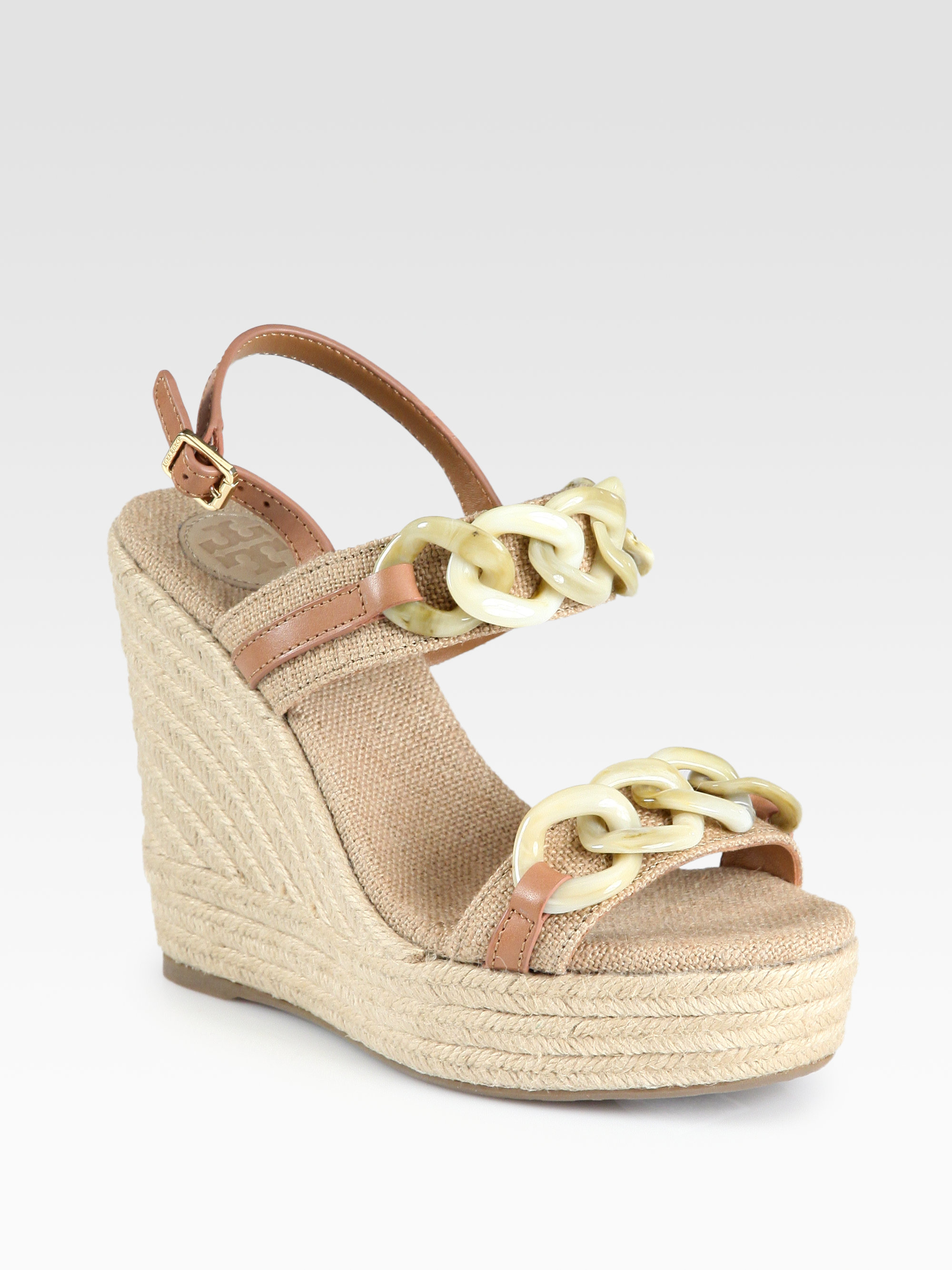 14805115806 Lyst - Tory Burch Alta Canvas Leather Espadrille Wedge Sandals in Brown
