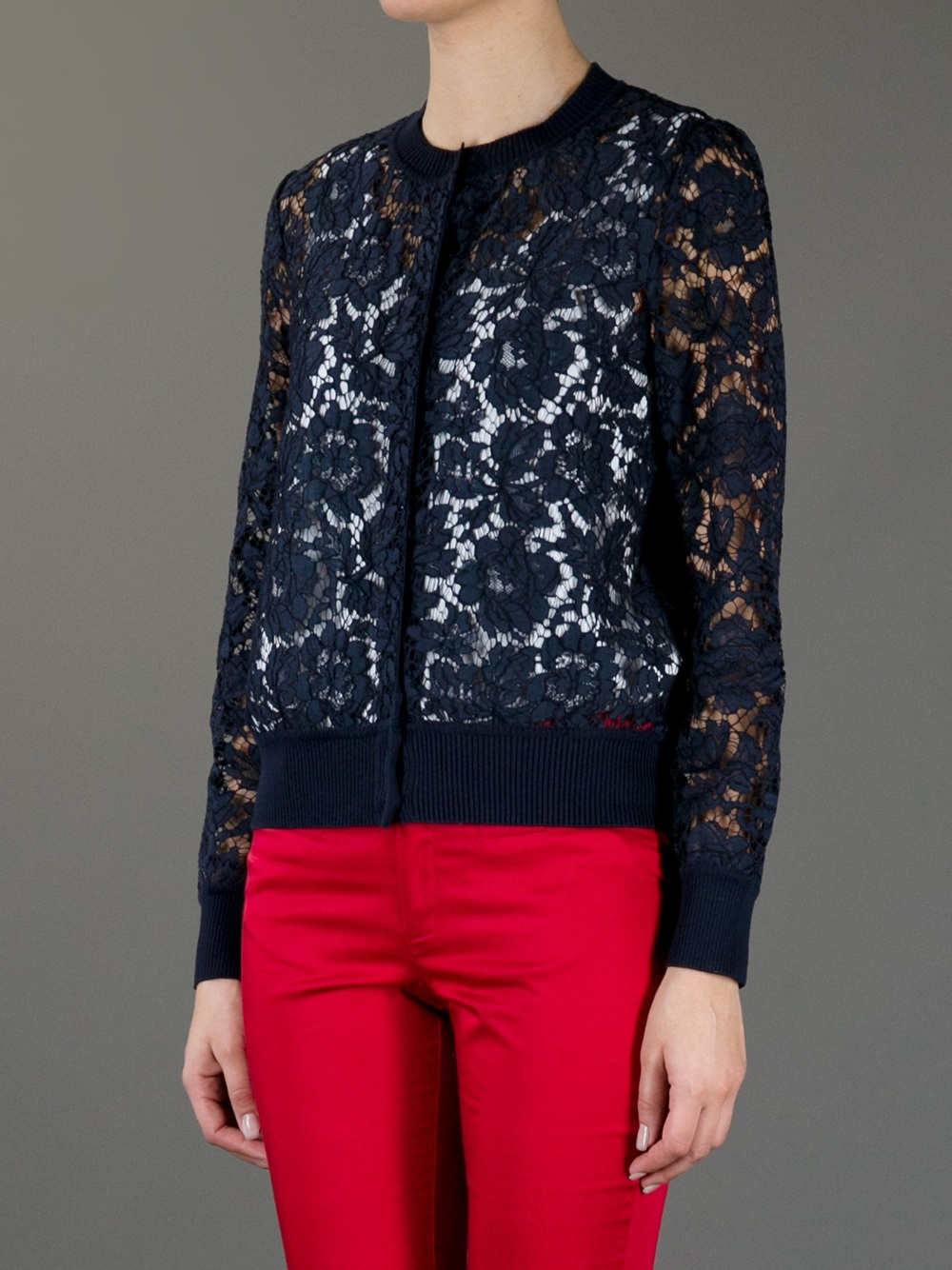 Valentino Lace Cardigan in Blue | Lyst