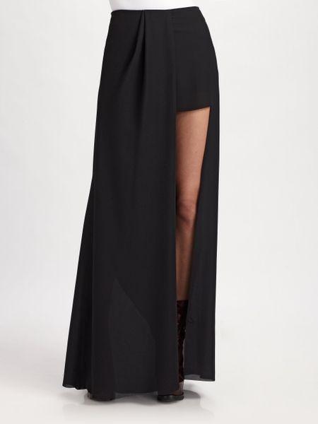 Acne Studios Long Skirt with High Slit in Black