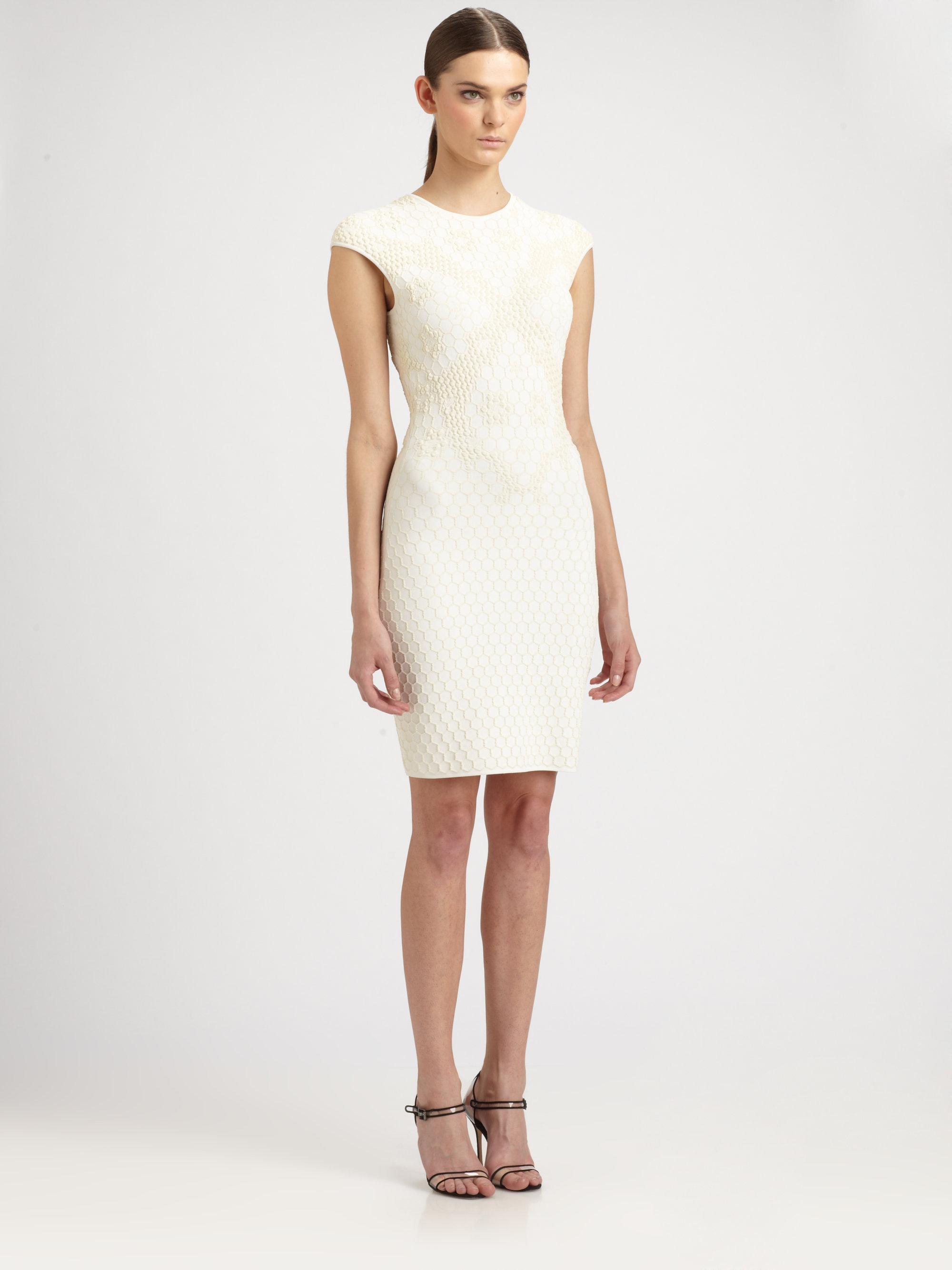 Lyst - Alexander Mcqueen Honeycomb Mini Dress in White