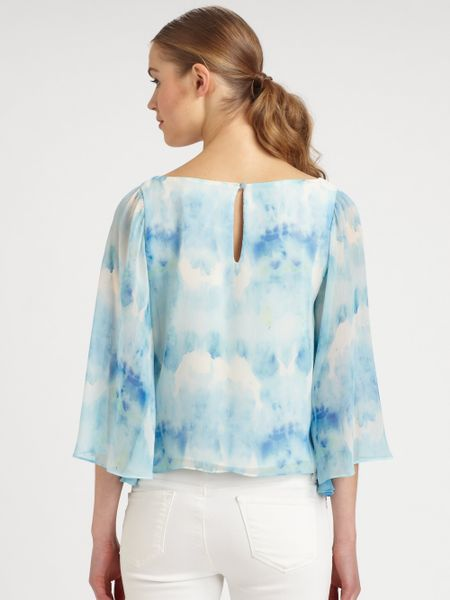 Alice Olivia Tiedyed Blouse In White Blue Tie Dye Lyst