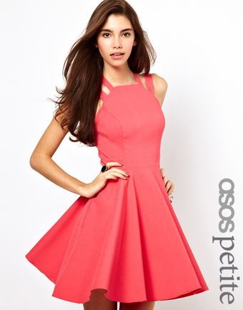 Asos Exclusive Strappy Skater Dress with Gold Clasp Detail - Lyst