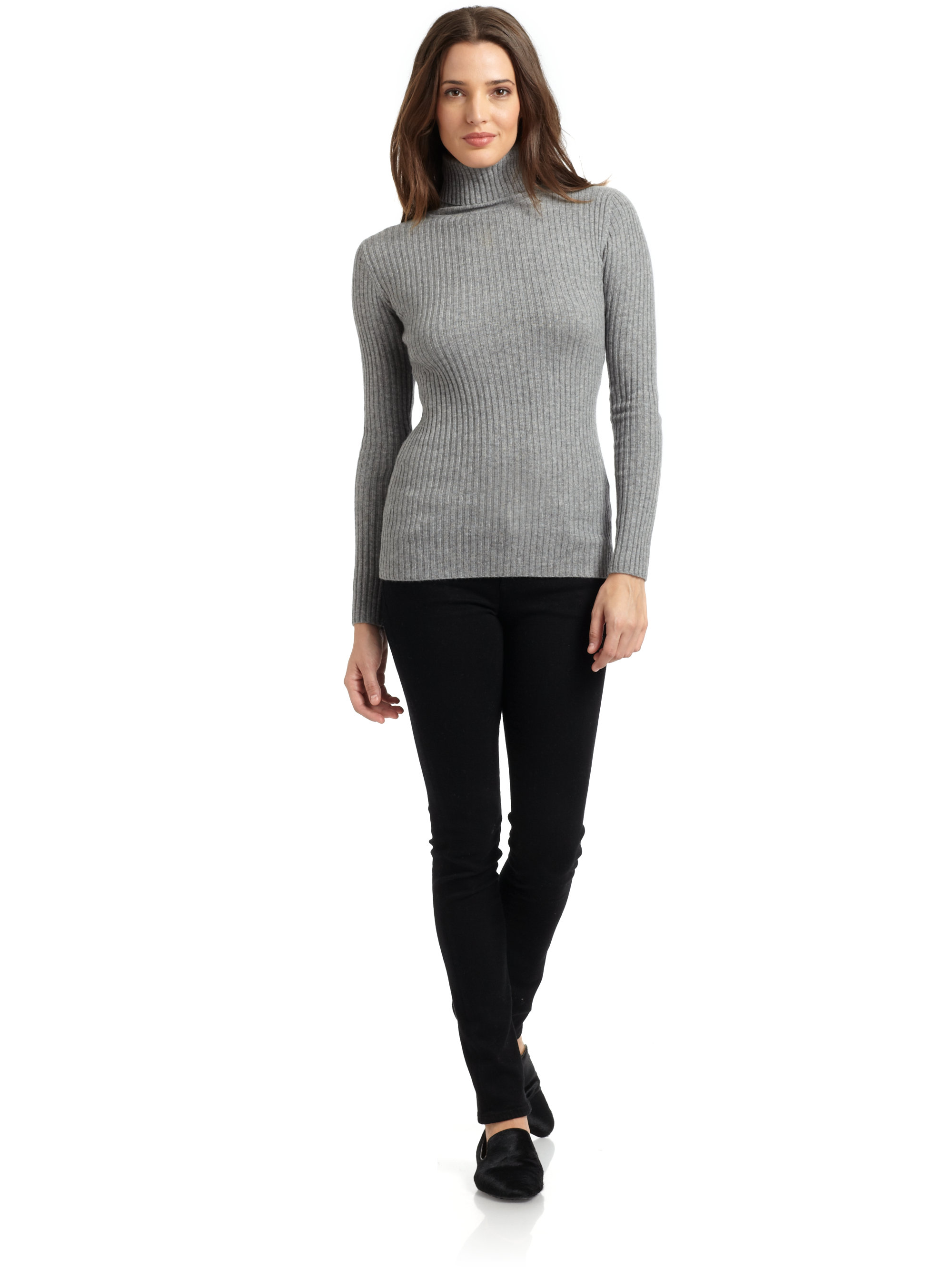 Autumn cashmere Cashmere Ribbed Turtleneck Sweater in Gray | Lyst