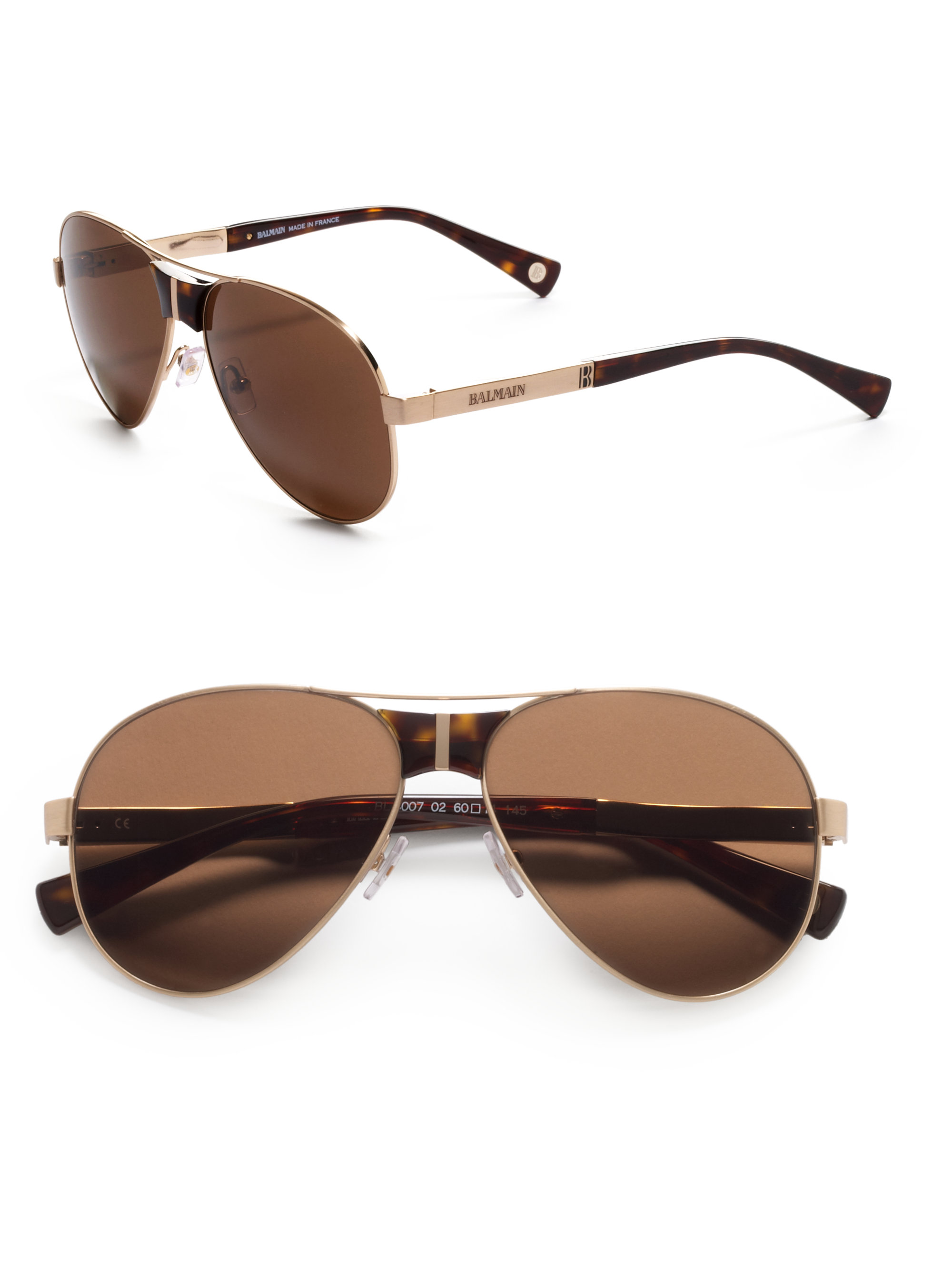 Balmain Aviator Sunglasses  balmain aviator anium acetate sunglasses gold brown in brown