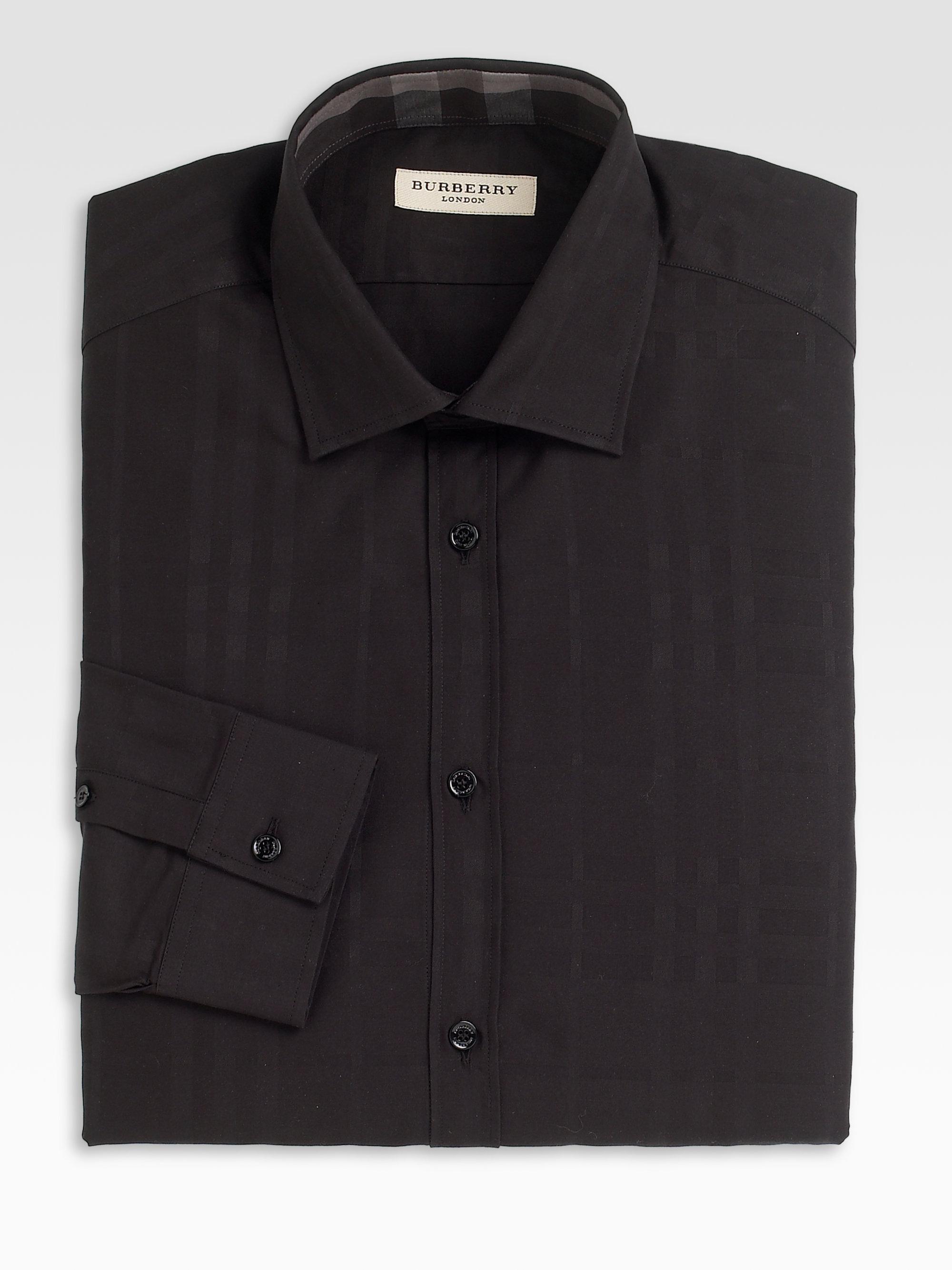 Lyst burberry tonal plaid dress shirt in black for men for Mens black plaid dress shirt
