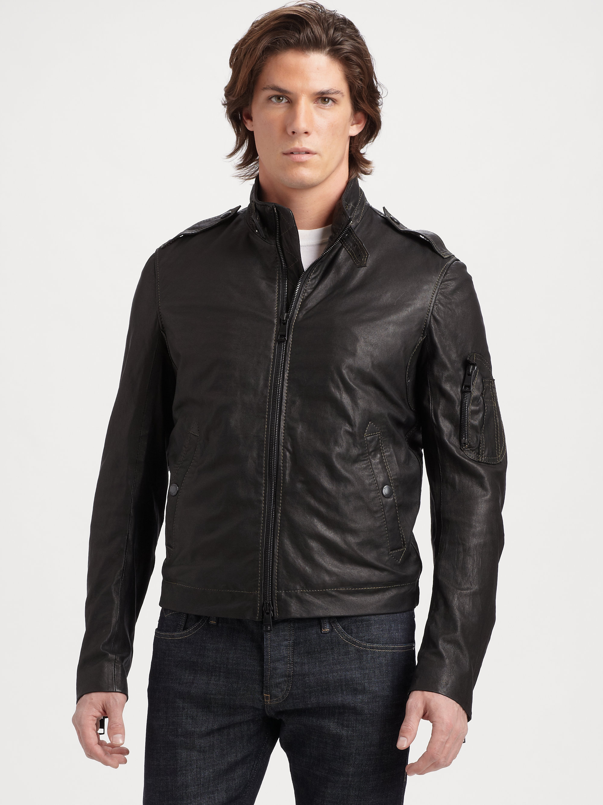 Lyst - Burberry Brit Leather Jacket in Black for Men