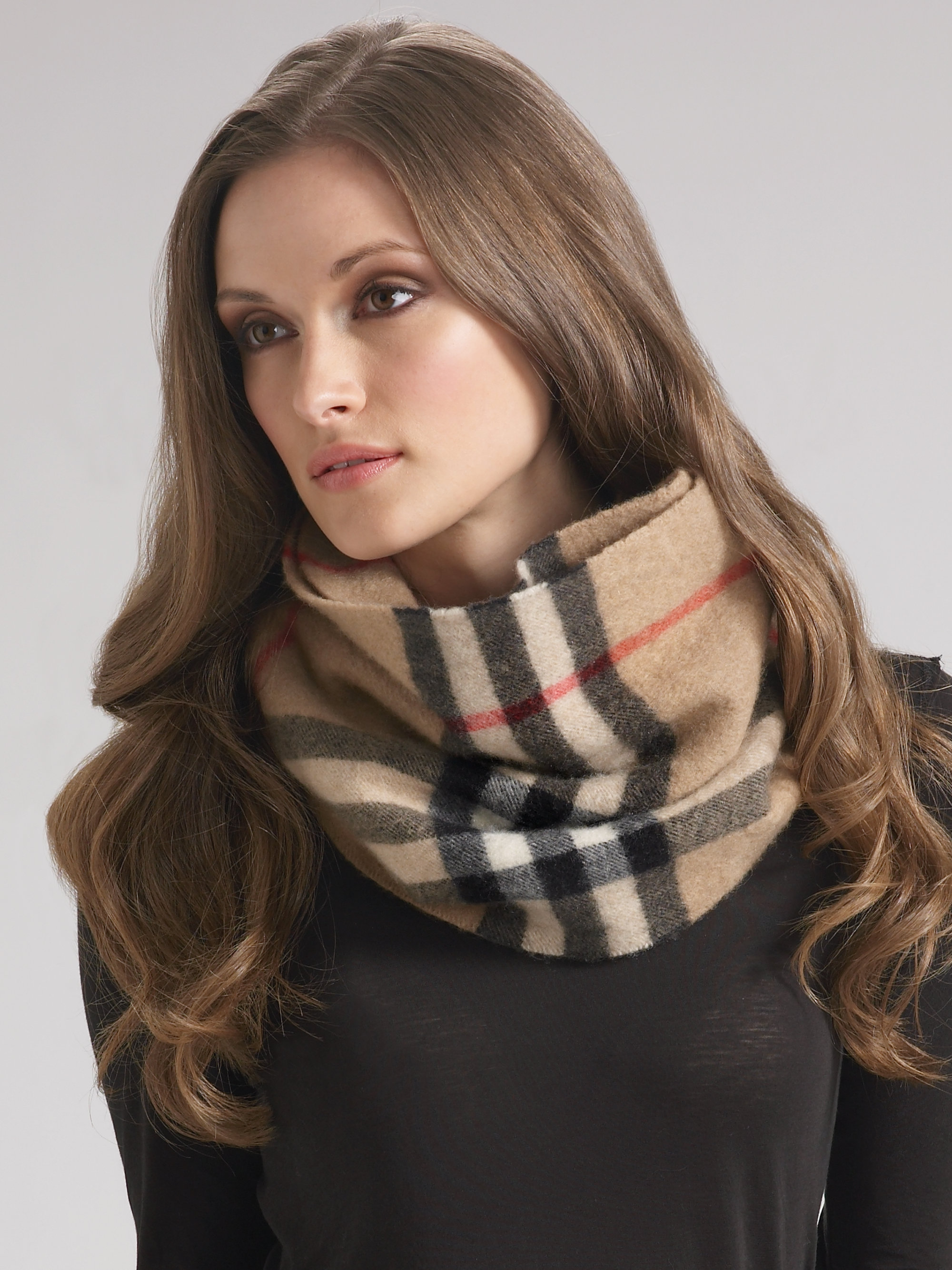 burberry cashmere snood check giant natural charcoal camel cdnd