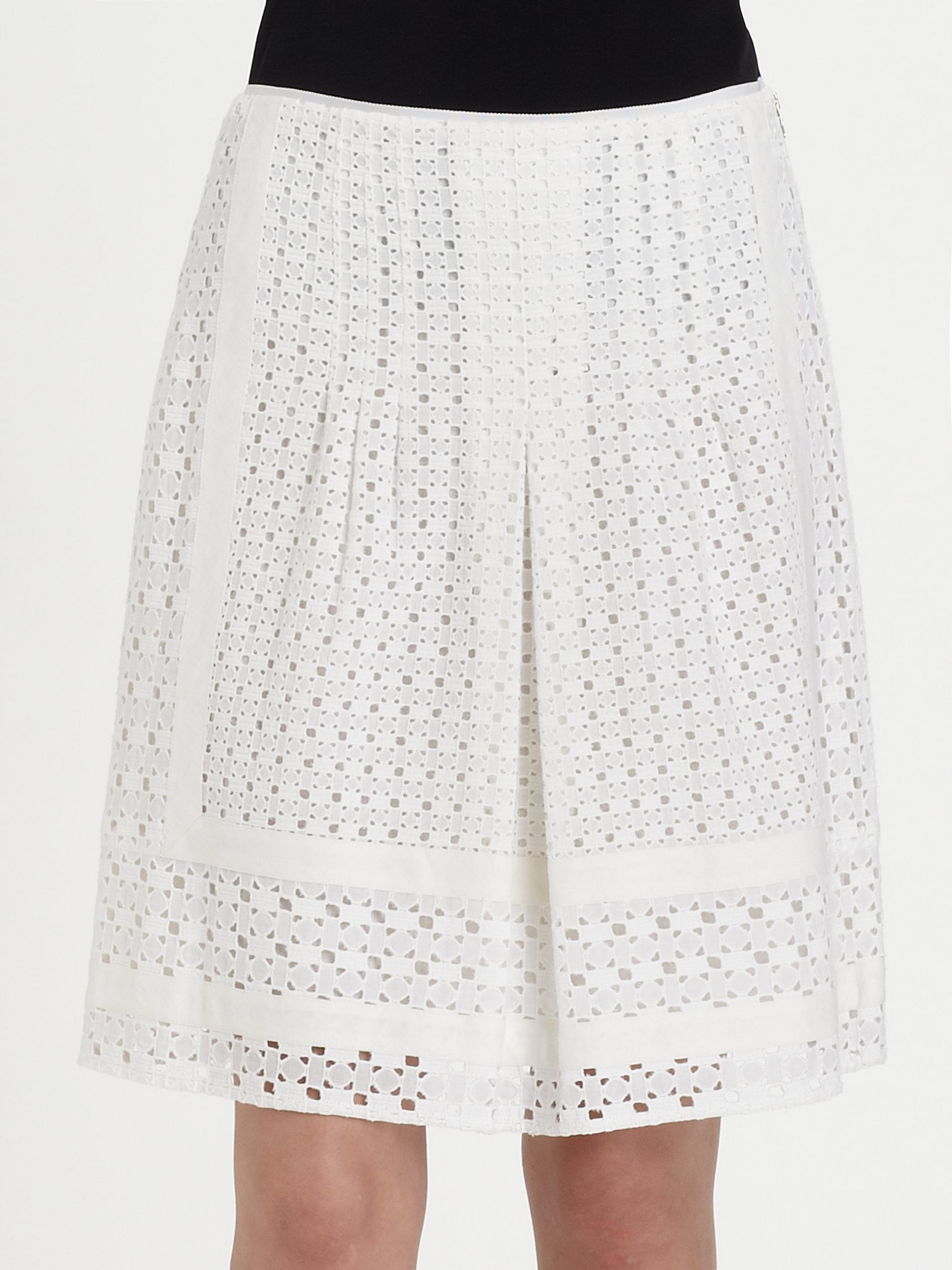 Elie tahari Alexandra Eyelet Skirt in White | Lyst