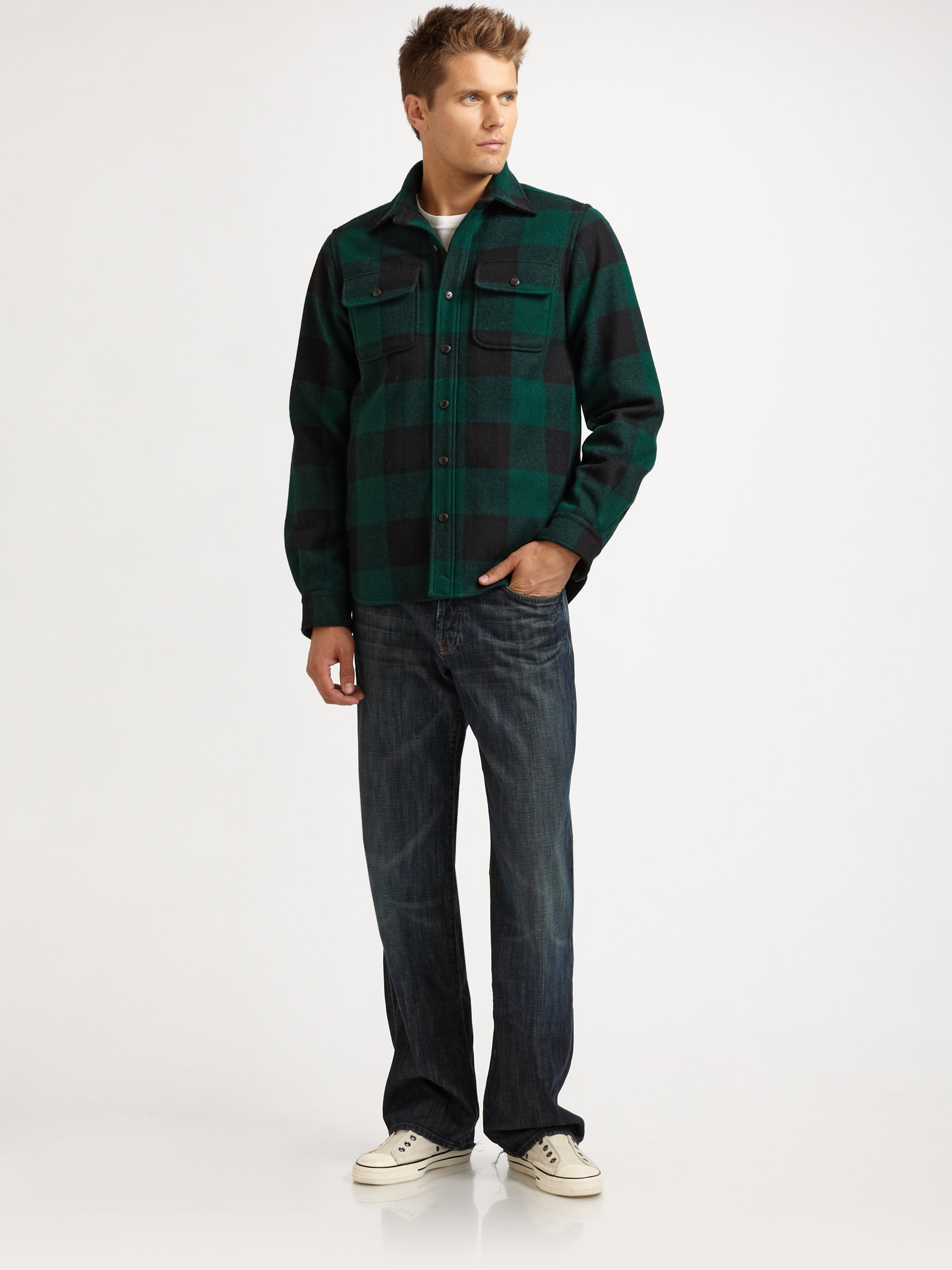 Elizabeth And James Wool Check Shirt Jacket In Green For