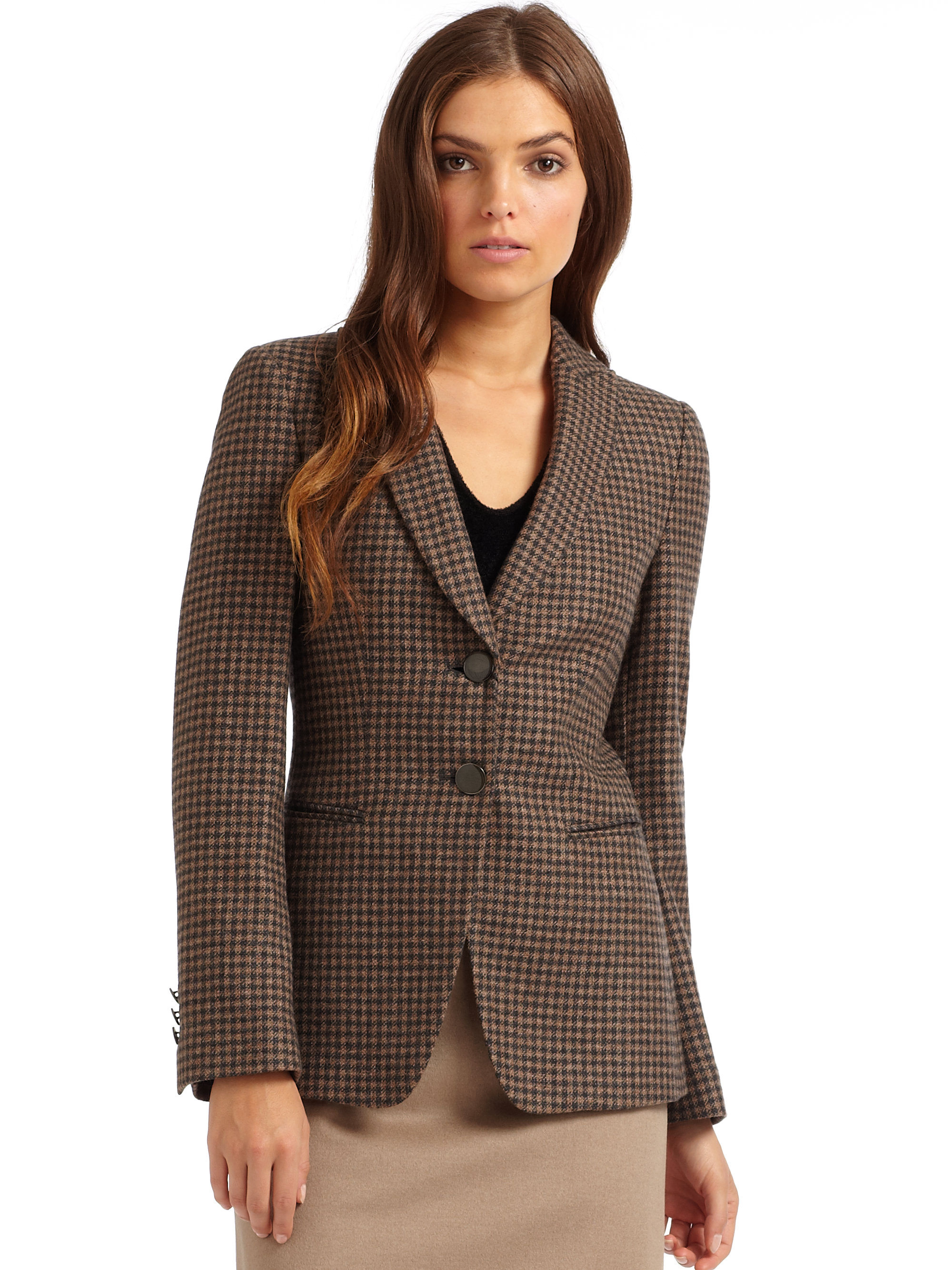 Giorgio armani Cashmere Houndstooth Jacket in Brown | Lyst