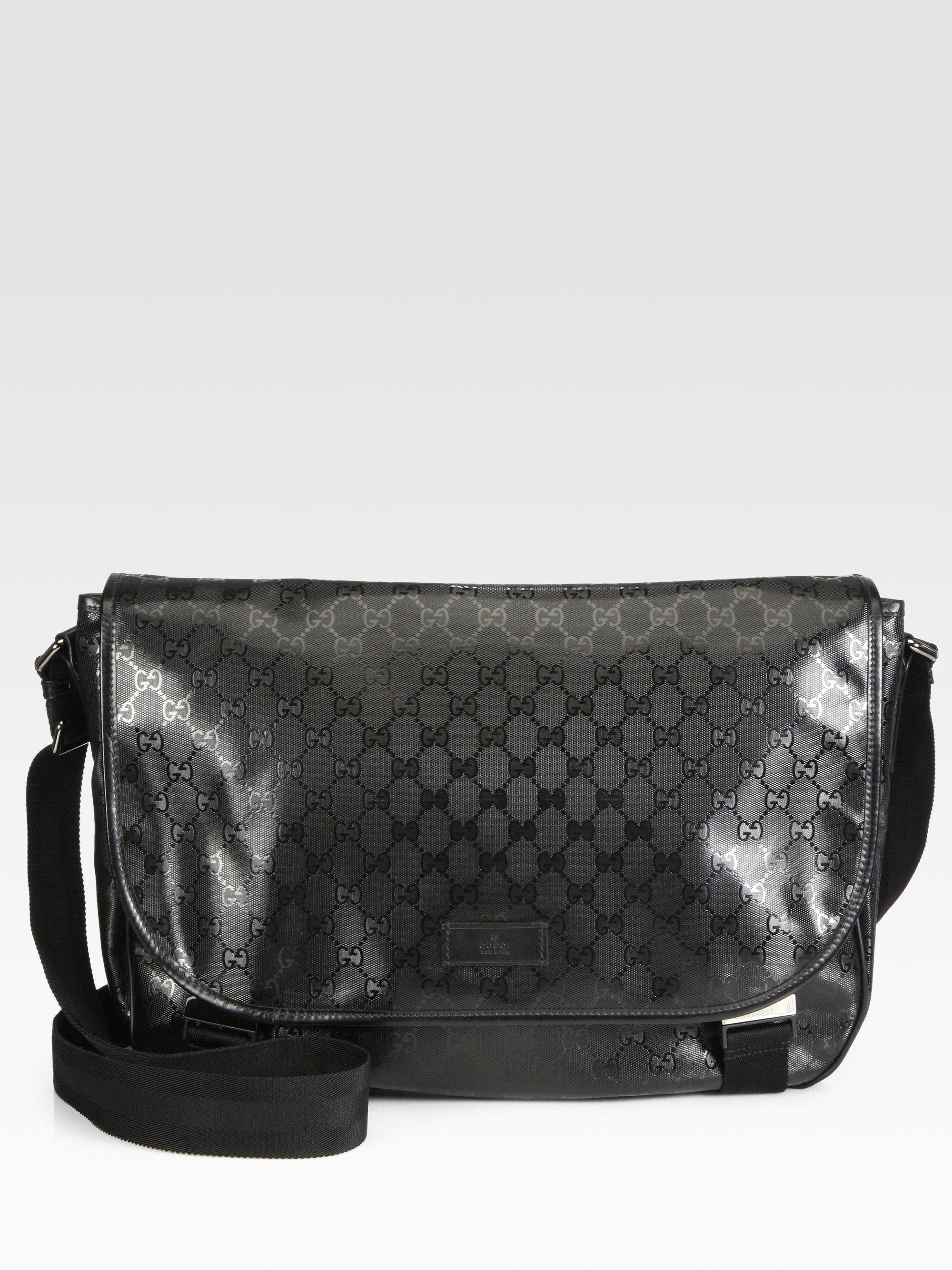 lyst gucci logo messenger bag in black for men. Black Bedroom Furniture Sets. Home Design Ideas