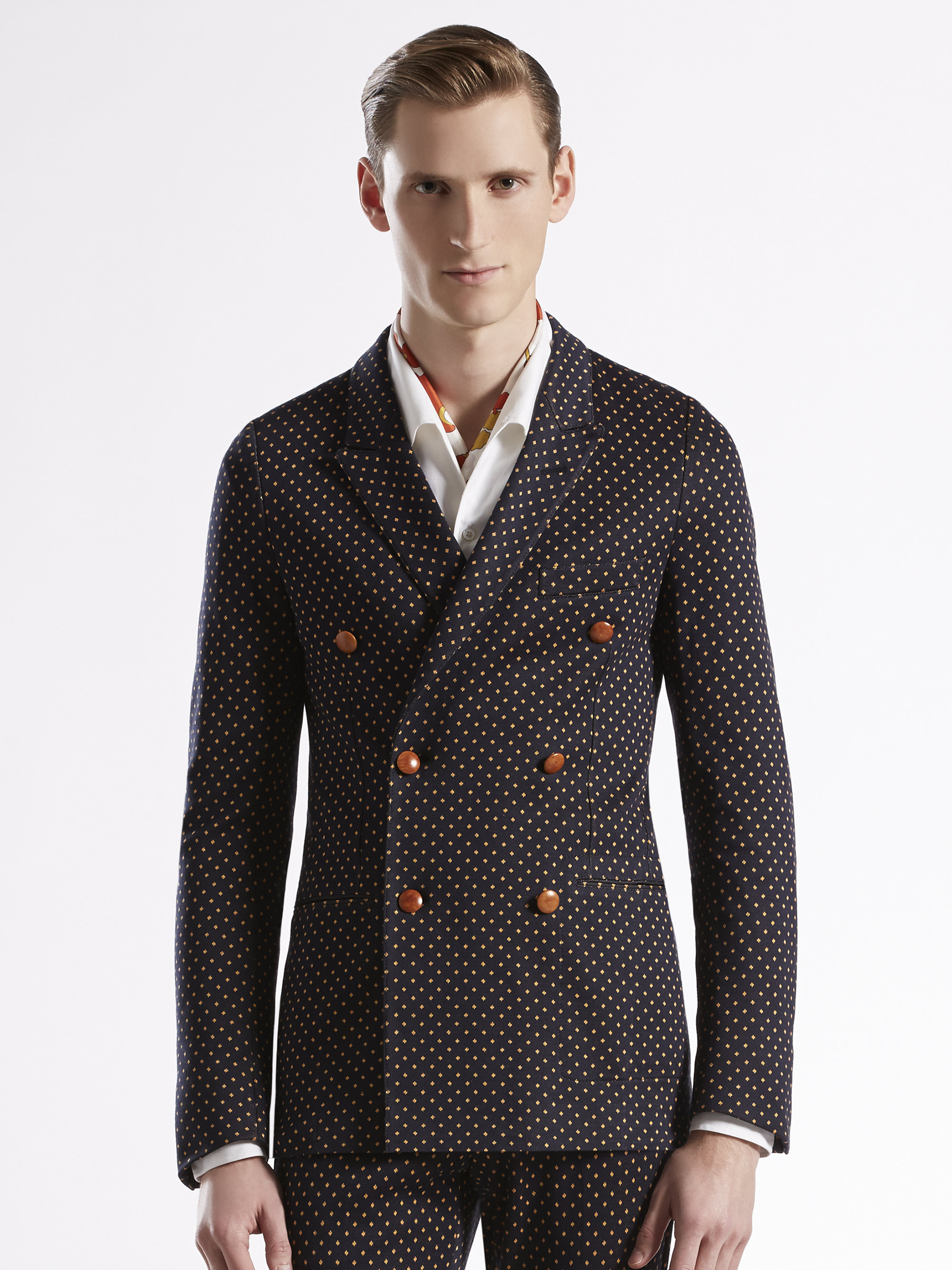 Gucci Jersey Dots Doublebreasted Suit In Brown For Men Lyst