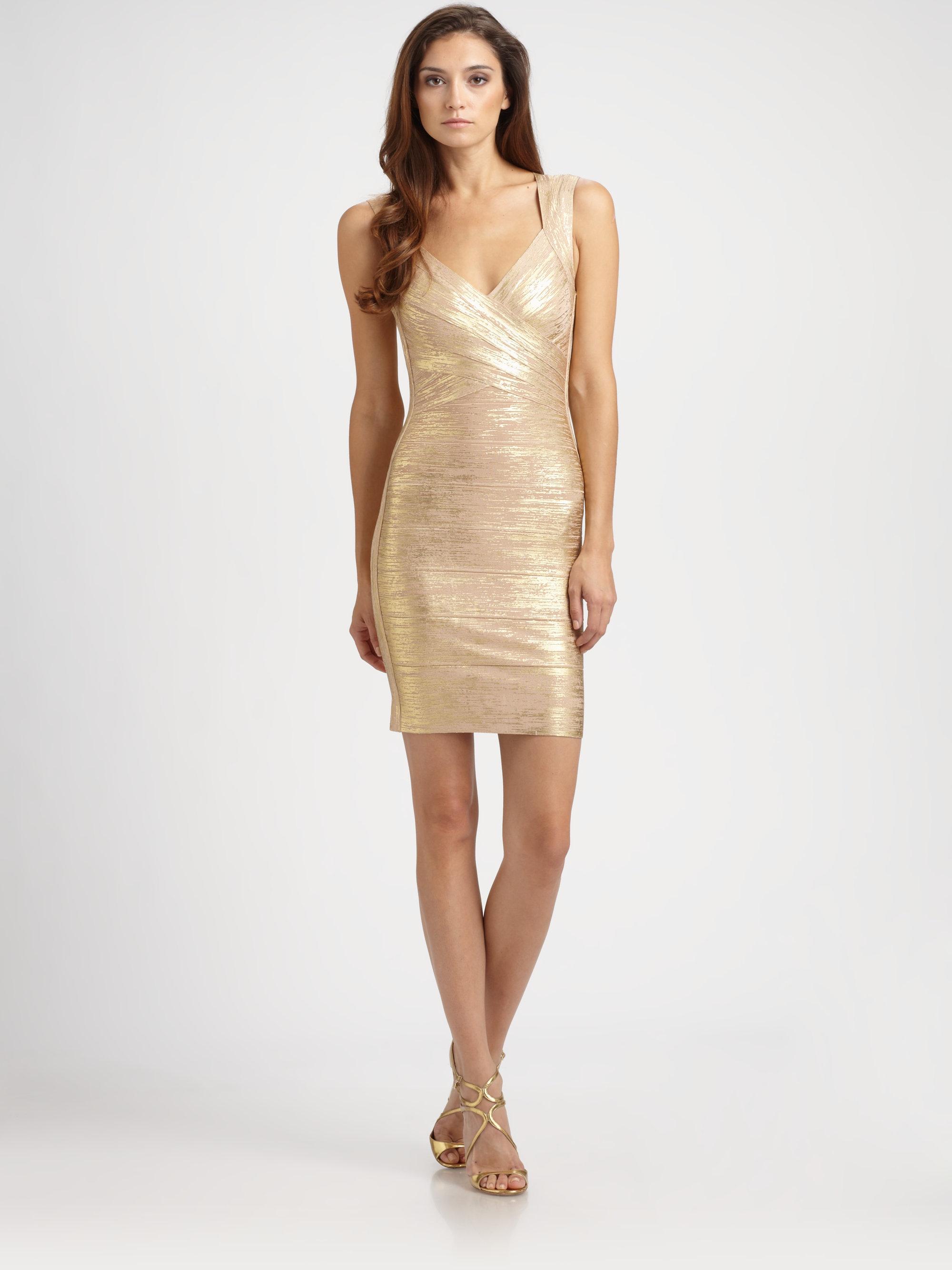 herv l ger metallic bandage dress in gold lyst. Black Bedroom Furniture Sets. Home Design Ideas
